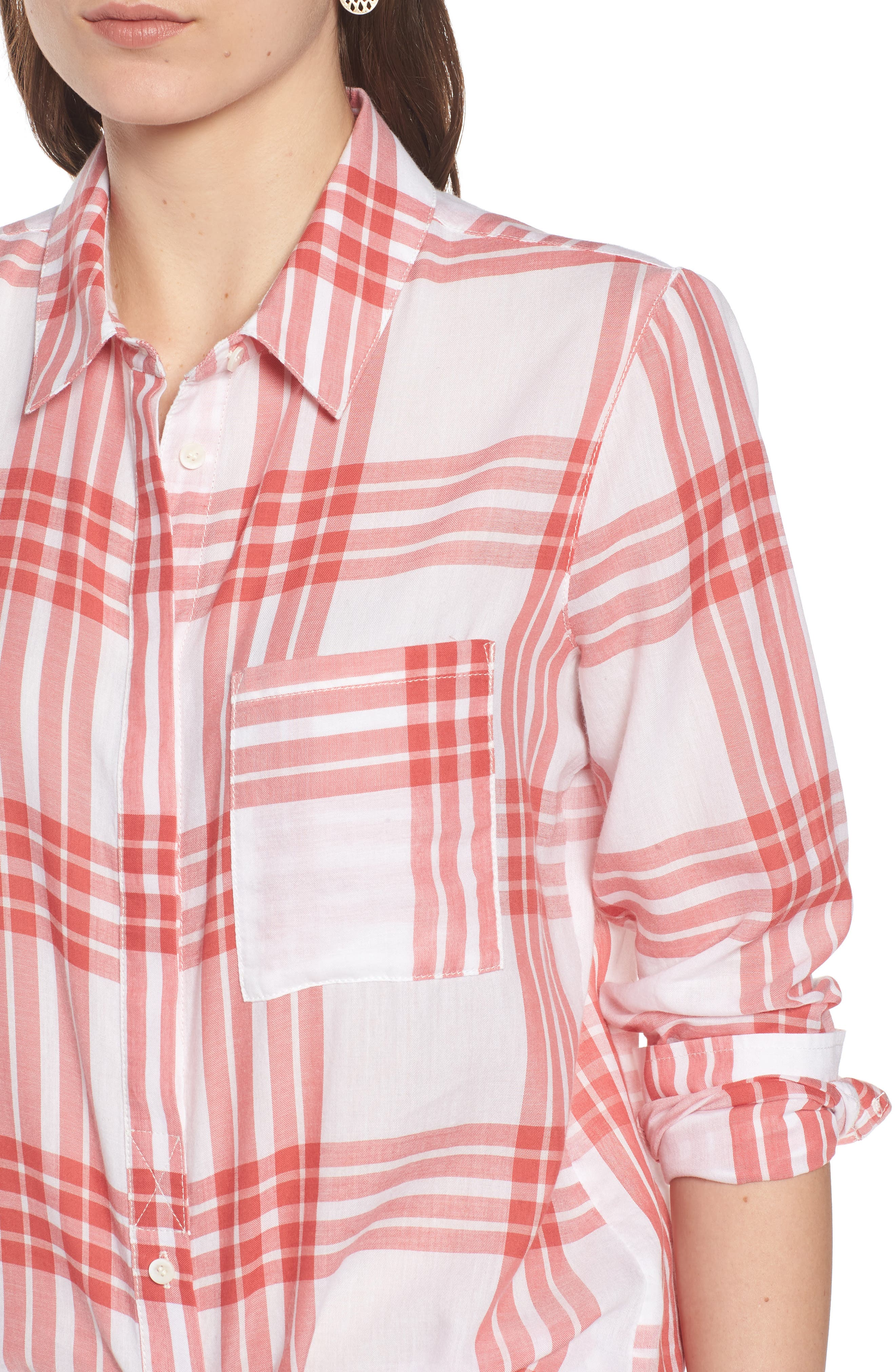 Classic Drapey Shirt,                             Alternate thumbnail 4, color,                             WHITE RED MINERAL REAR WINDOW