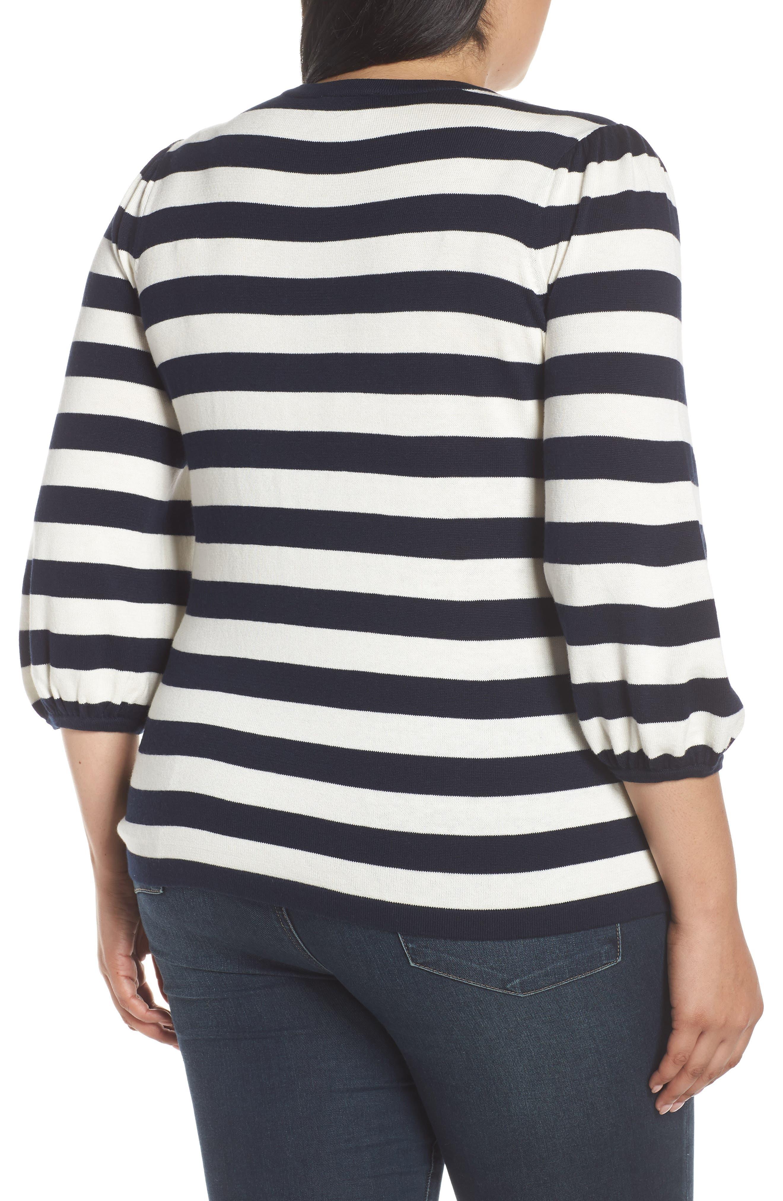 Stripe Blouson Sleeve Sweater,                             Alternate thumbnail 2, color,                             CAVIAR