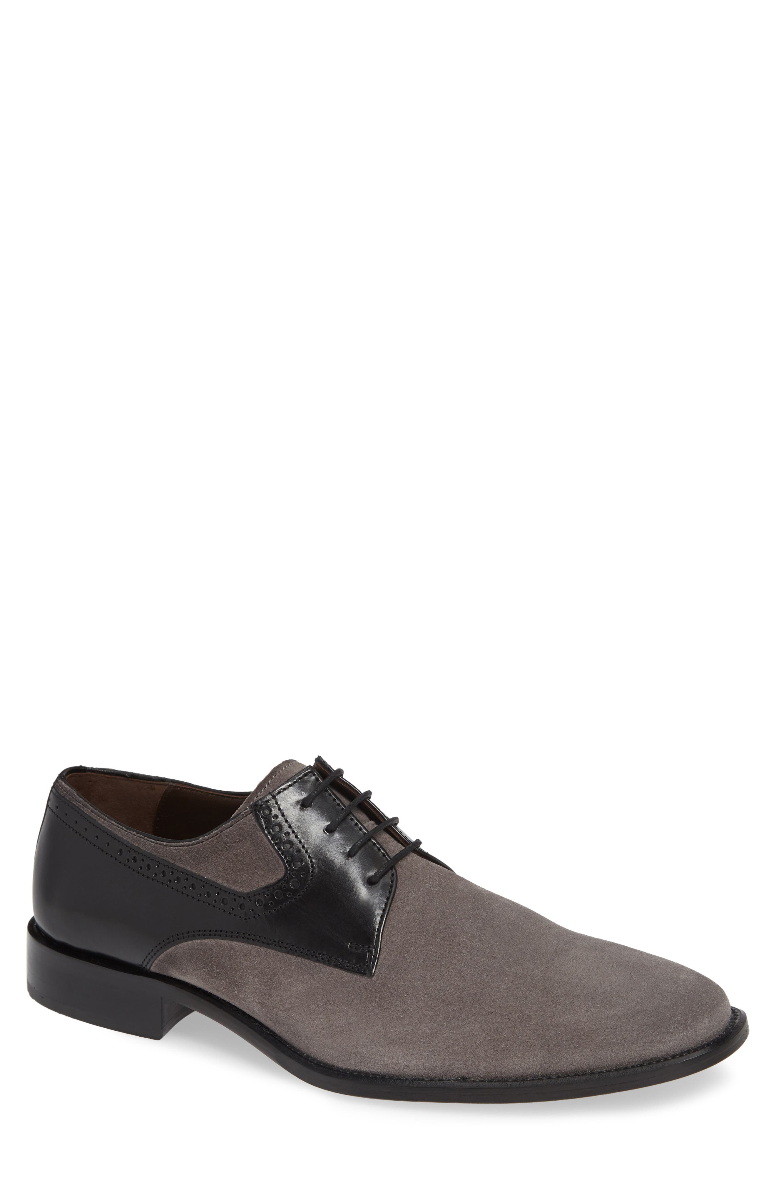 Maxwell Plain Toe Derby,                             Main thumbnail 1, color,                             GREY SUEDE