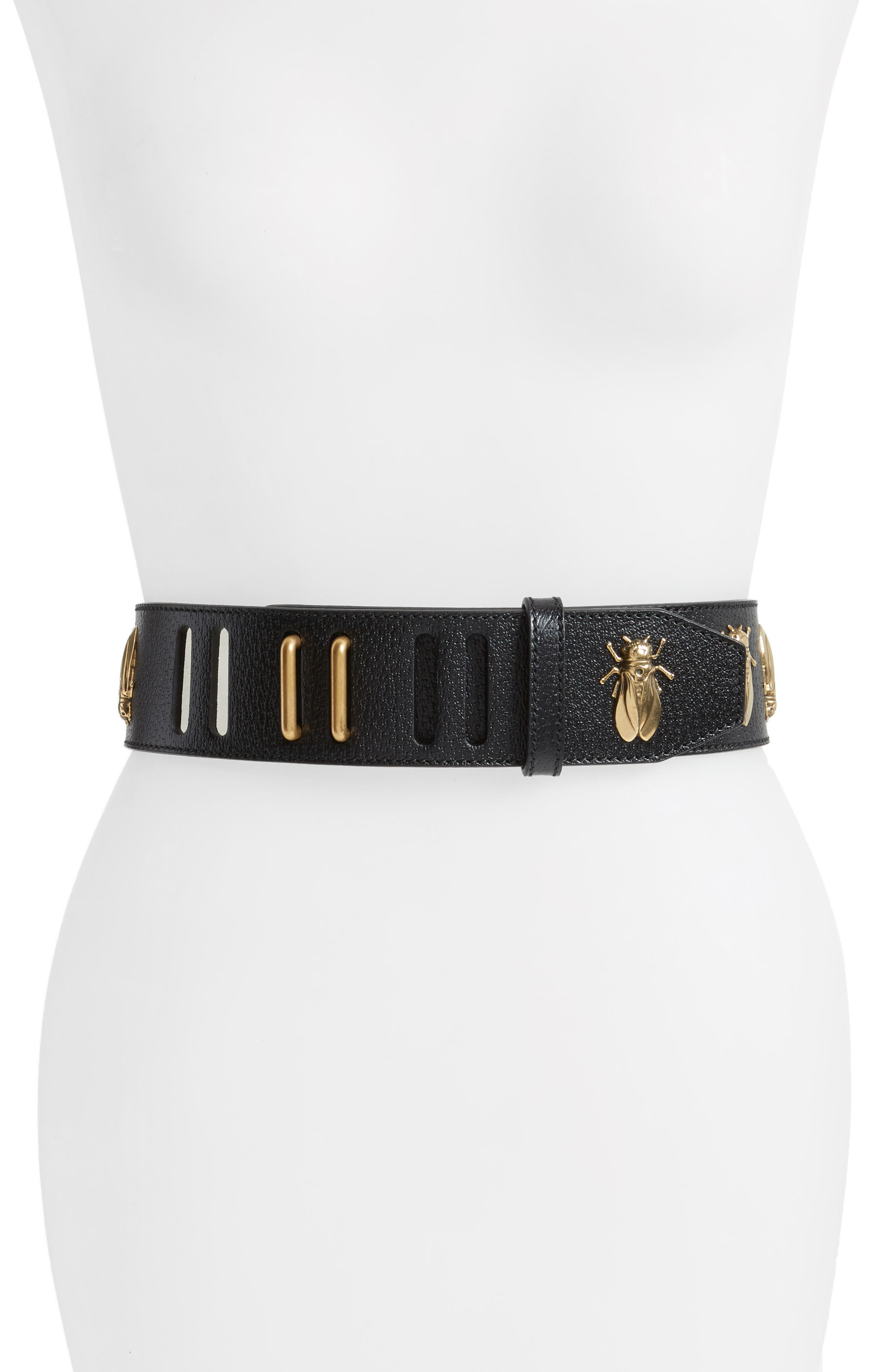 Bees Leather Belt,                             Main thumbnail 1, color,