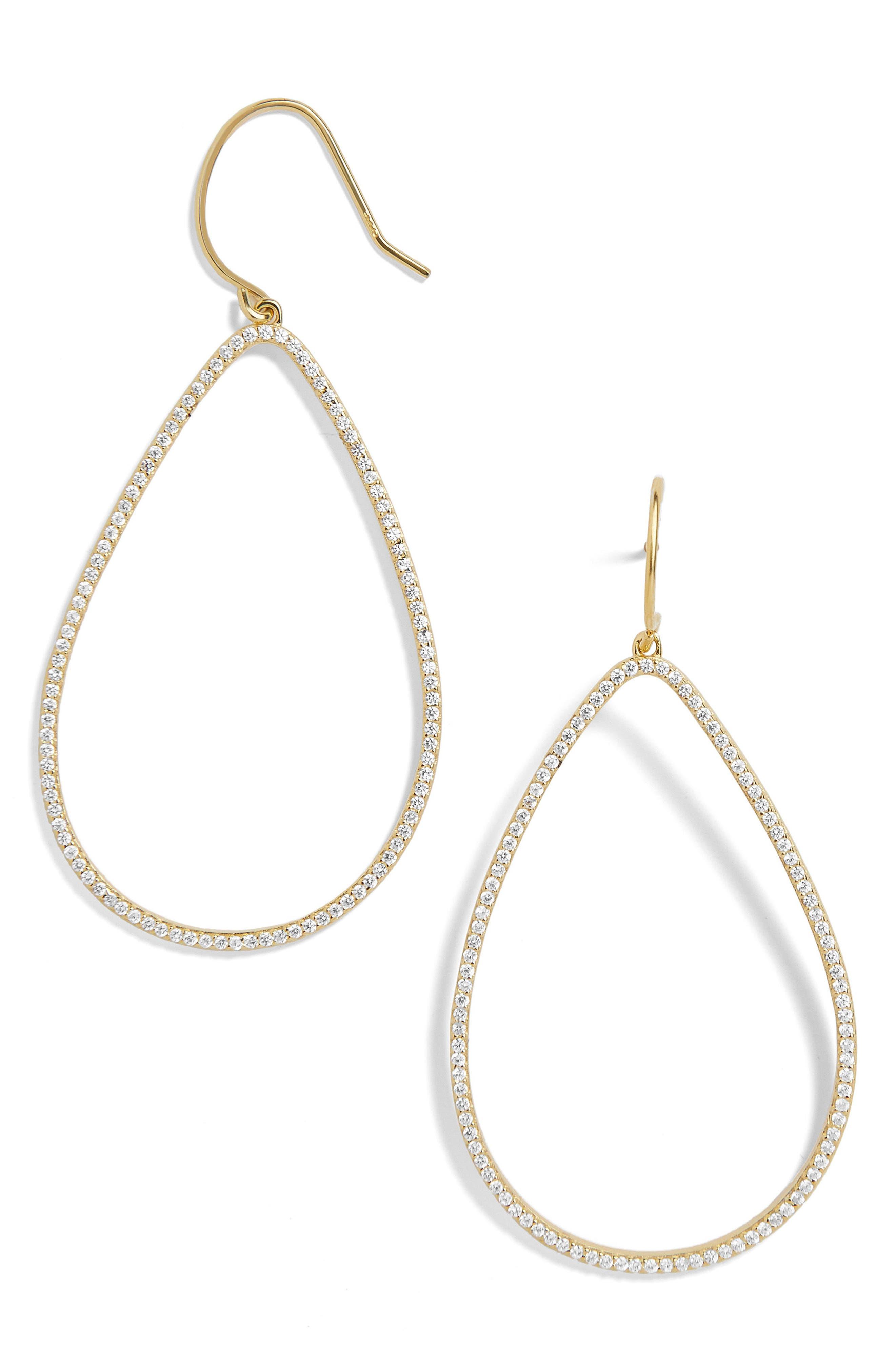 Everyday Fine Fishhook Crystal Teardrop Earrings,                             Main thumbnail 1, color,                             GOLD