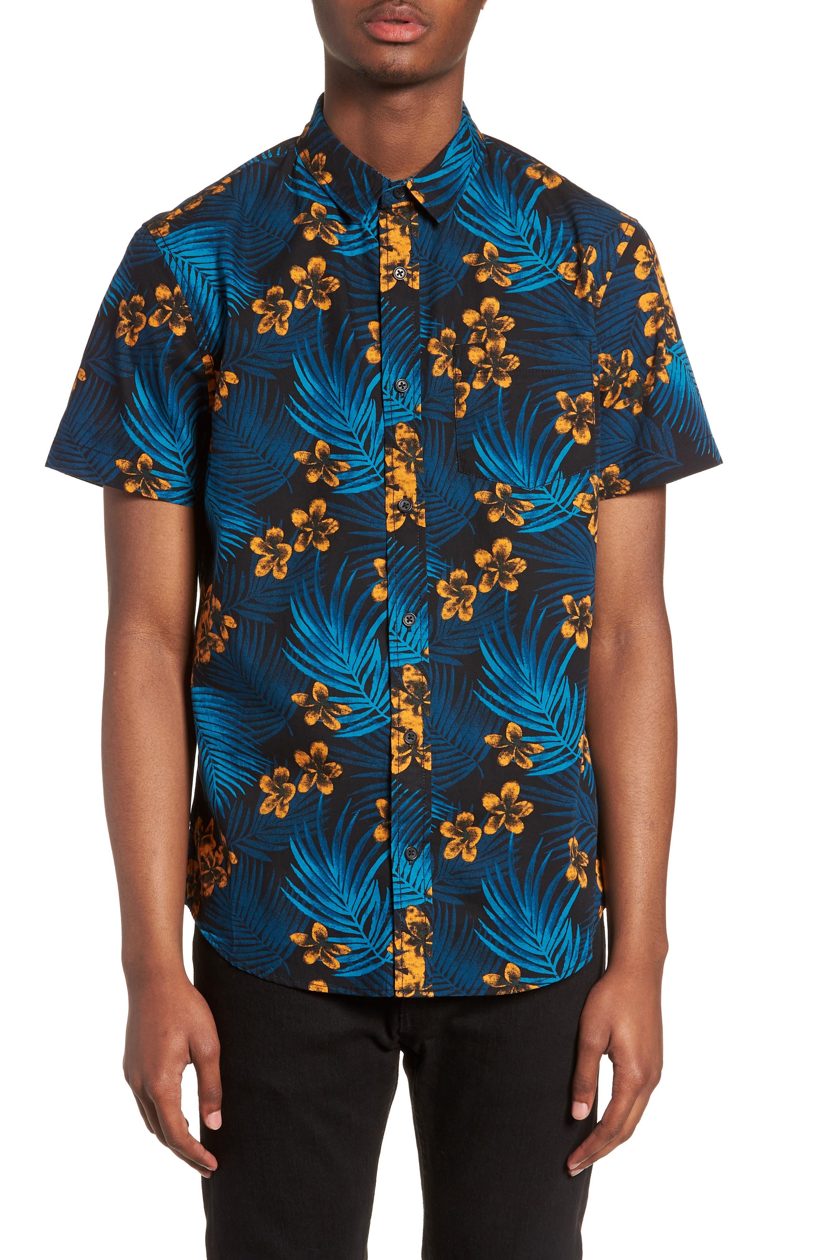 Short Sleeve Print Poplin Shirt,                         Main,                         color,
