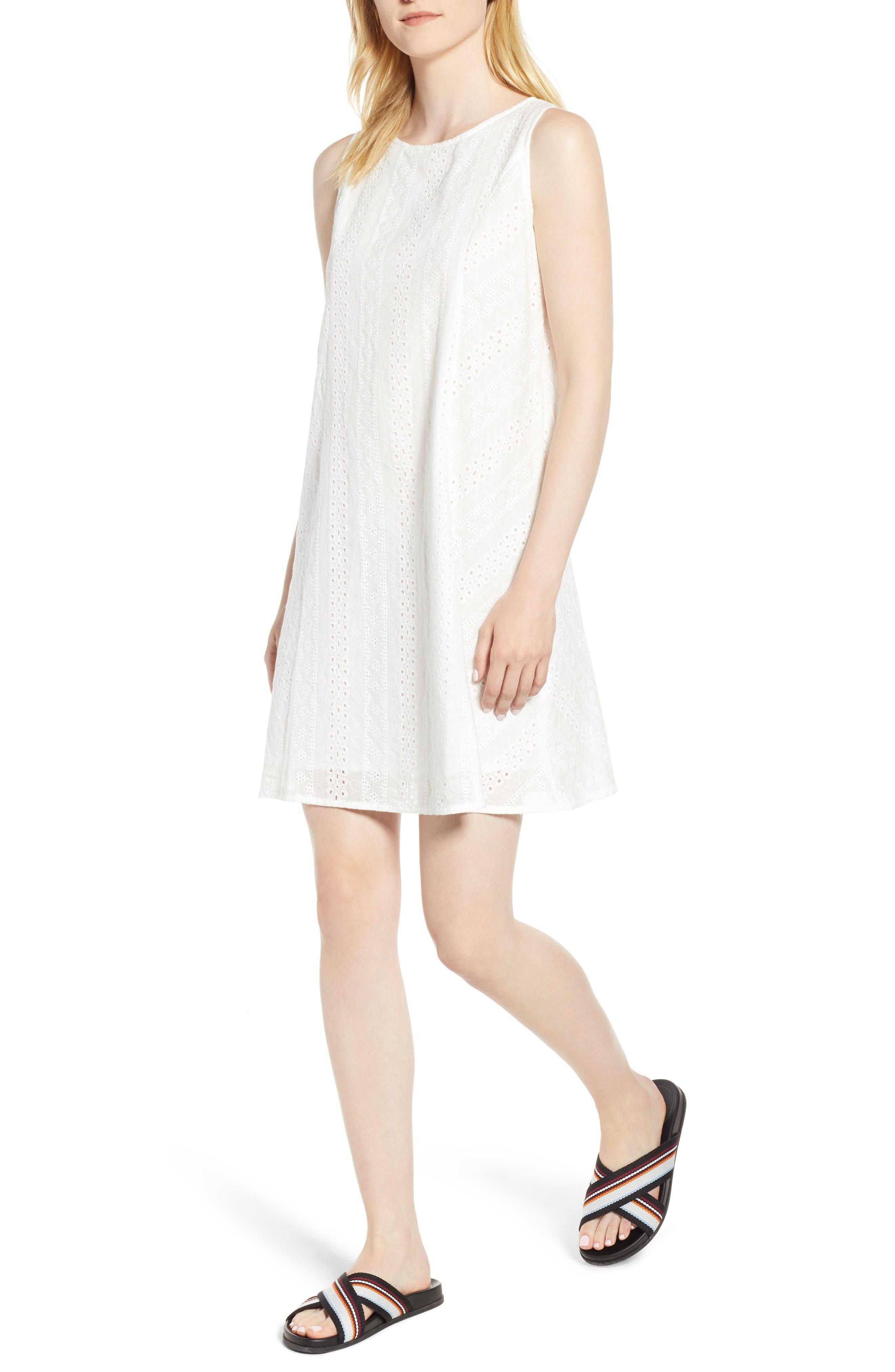 Eyelet Shift Dress,                         Main,                         color, 100