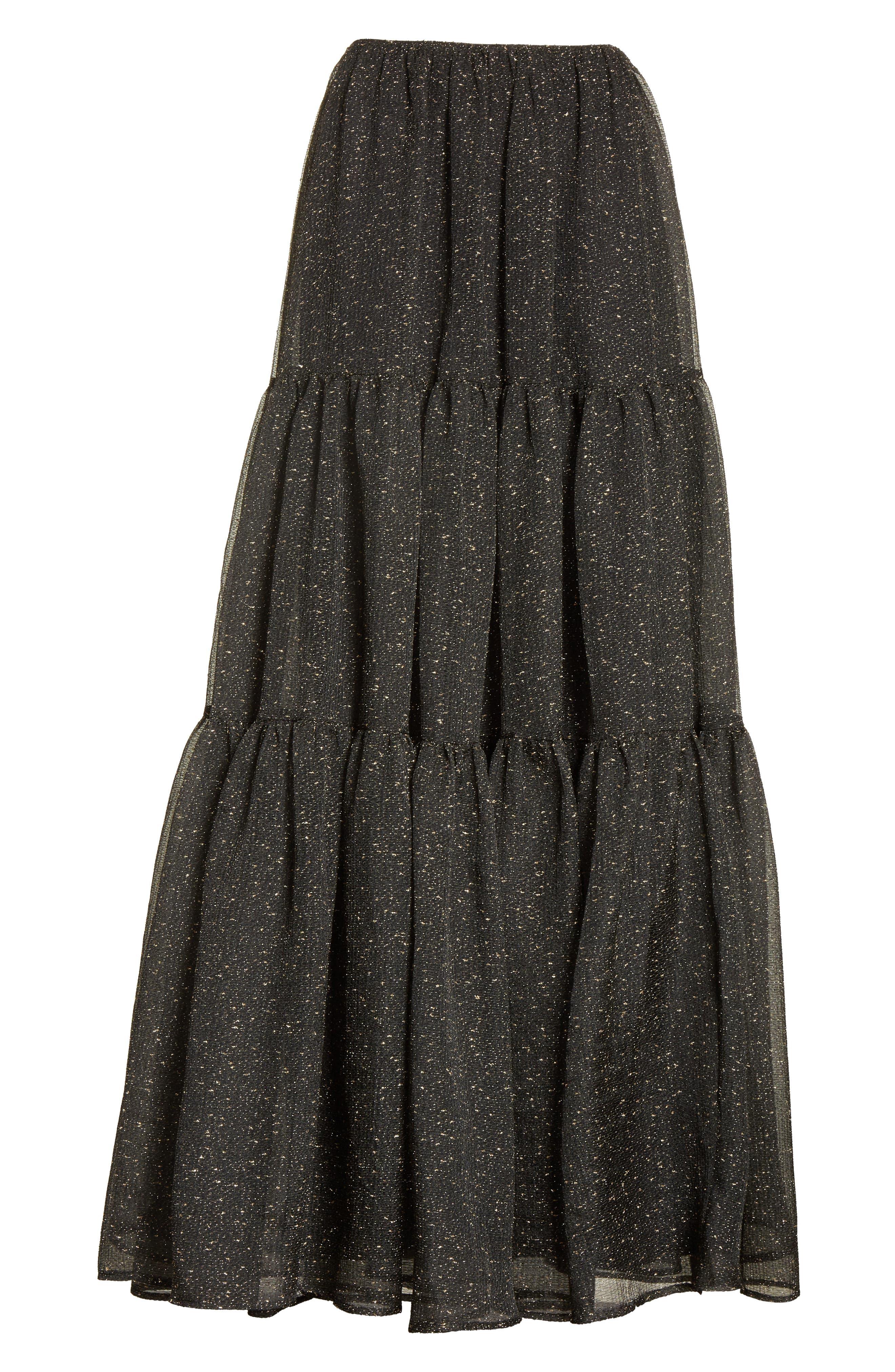 Tiered Organza Maxi Skirt,                             Alternate thumbnail 6, color,                             015