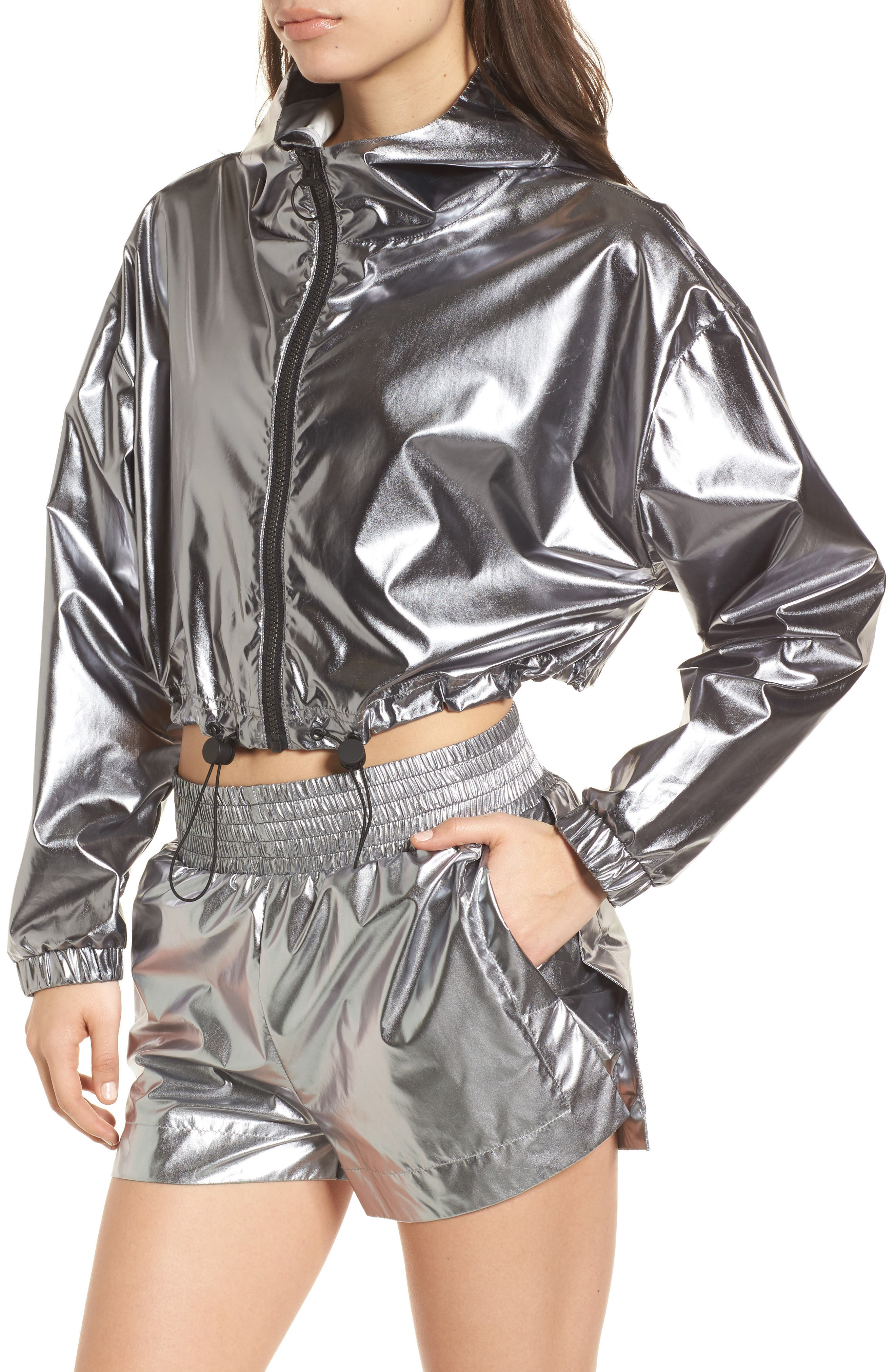 Metallic Crop Jacket,                             Alternate thumbnail 4, color,                             040