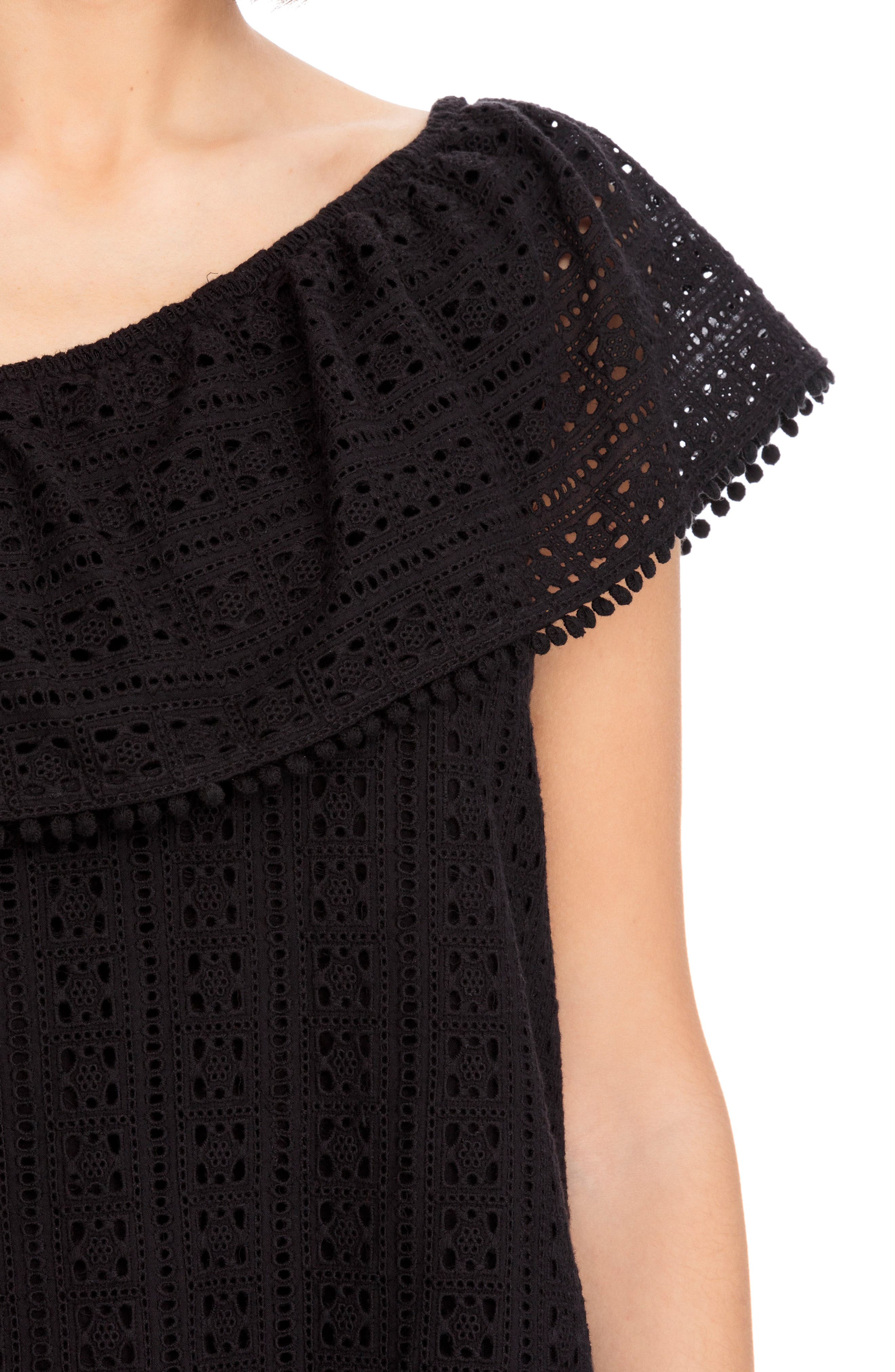 Adelie Ruffle One-Shoulder Eyelet Blouse,                             Alternate thumbnail 8, color,