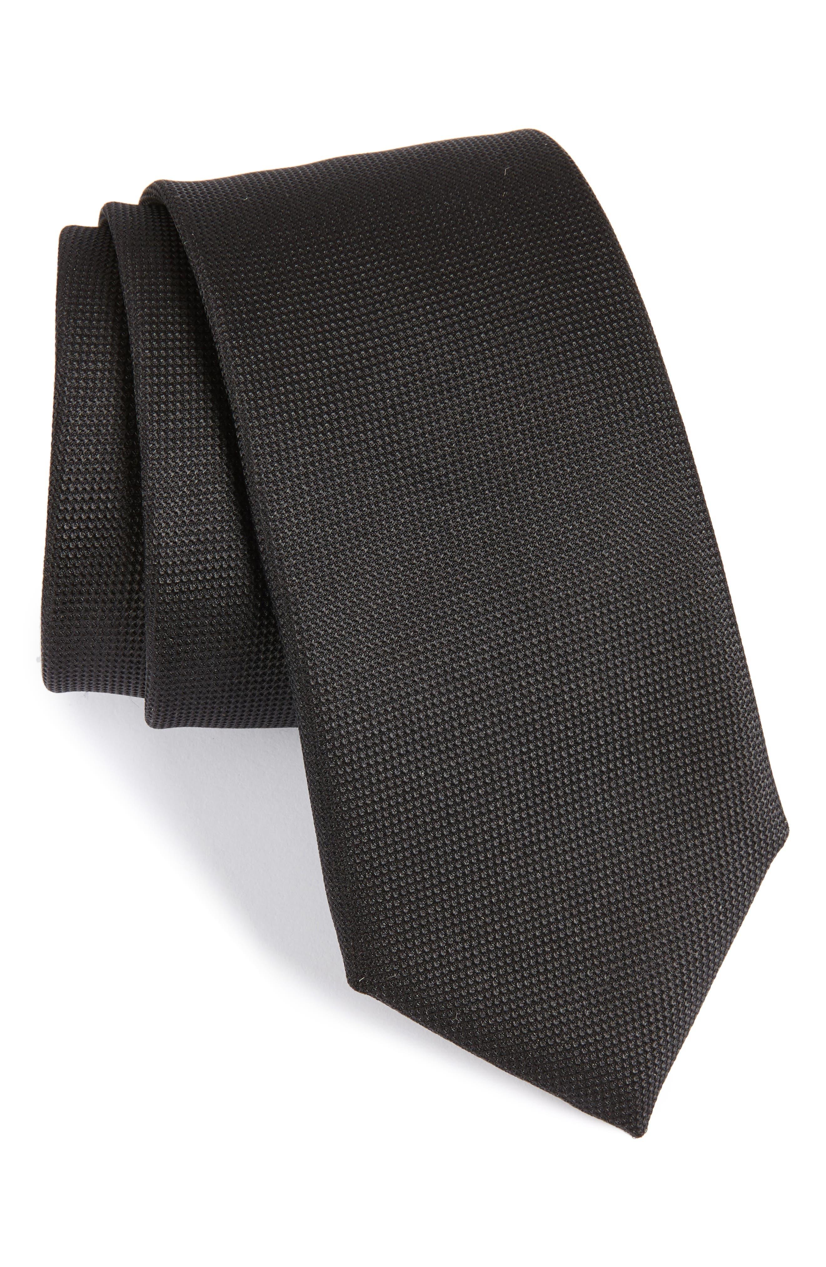 Silk Tie,                             Main thumbnail 1, color,                             BLACK