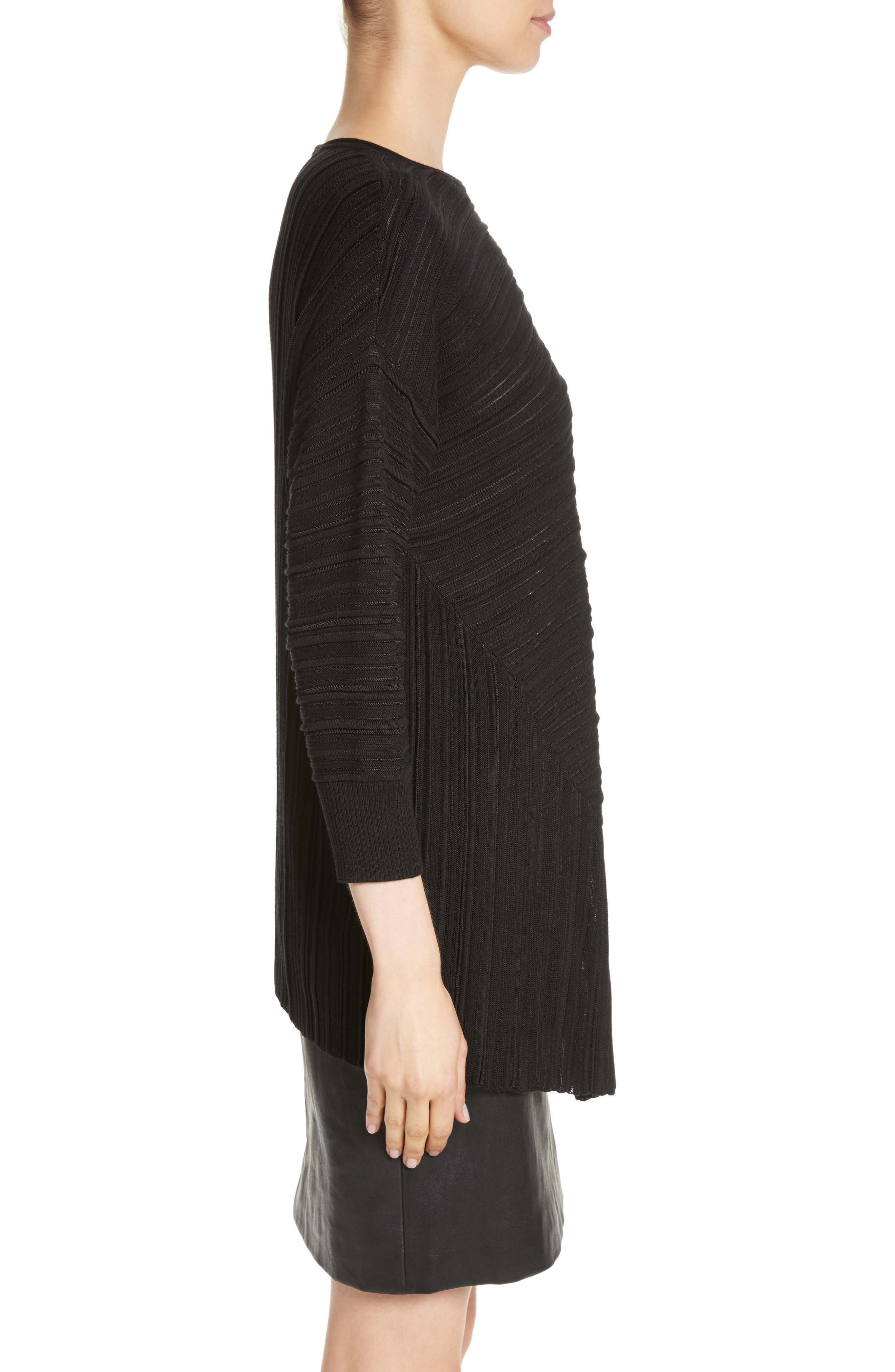Knit Asymmetrical Sweater,                             Alternate thumbnail 3, color,                             CAVIAR