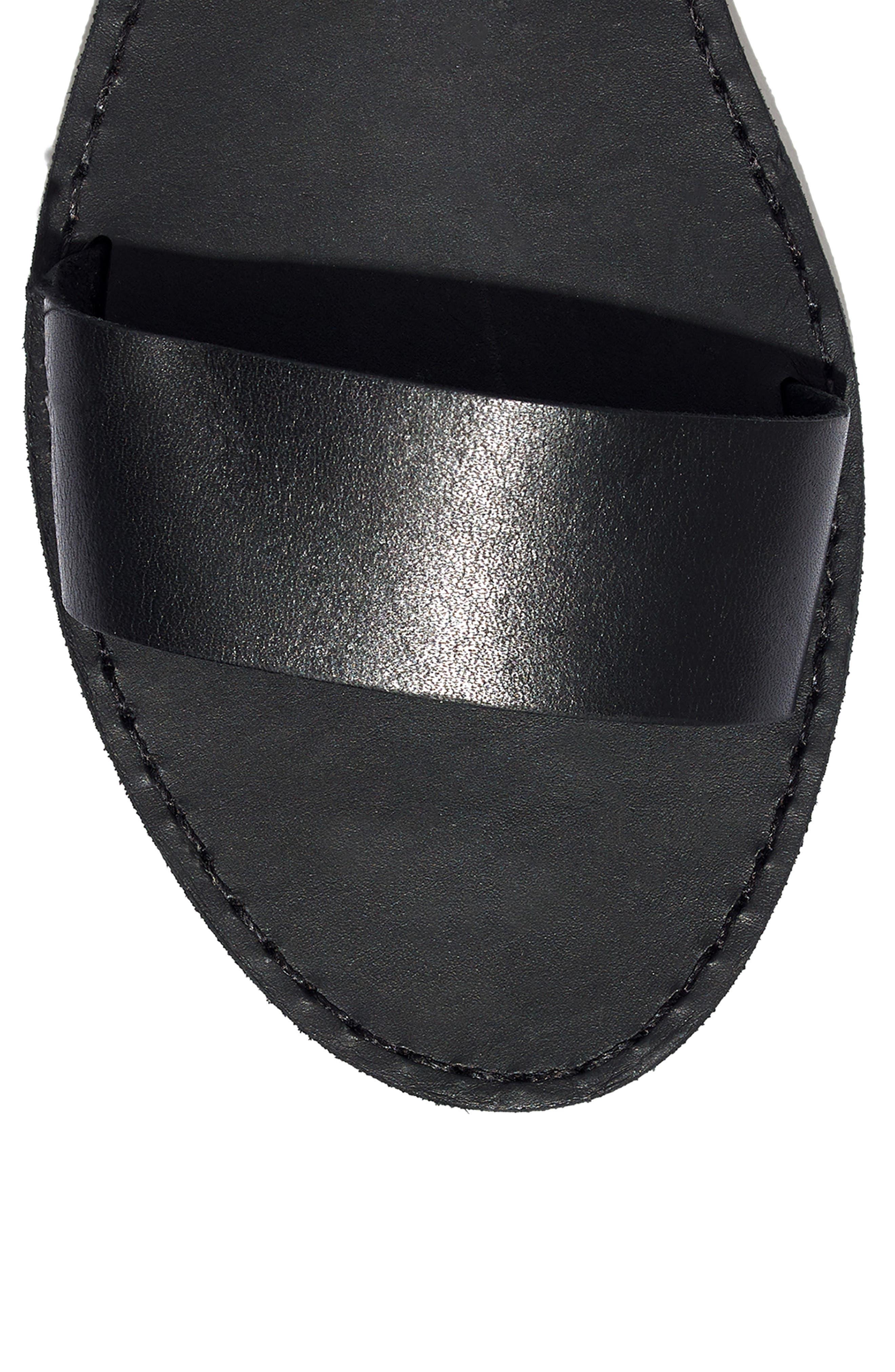 The Boardwalk Ankle Strap Sandal,                             Alternate thumbnail 7, color,                             TRUE BLACK LEATHER