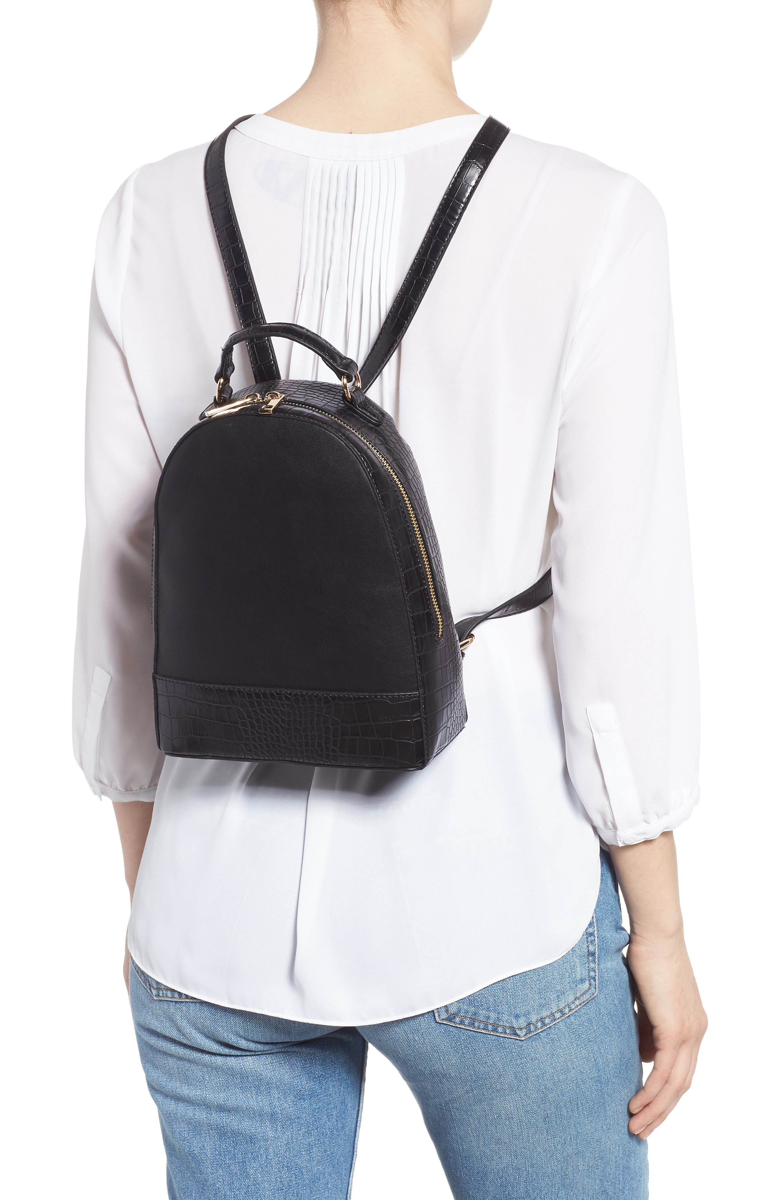 Jamya Croc Embossed Faux Leather Backpack,                             Alternate thumbnail 2, color,                             BLACK
