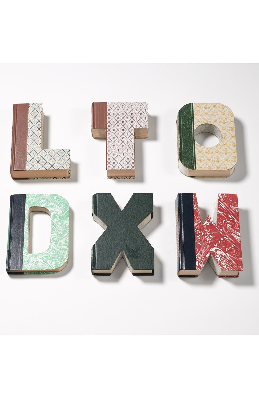 'One of a Kind Letter' Hand-Carved Recycled Book Shelf Art,                             Alternate thumbnail 3, color,                             200