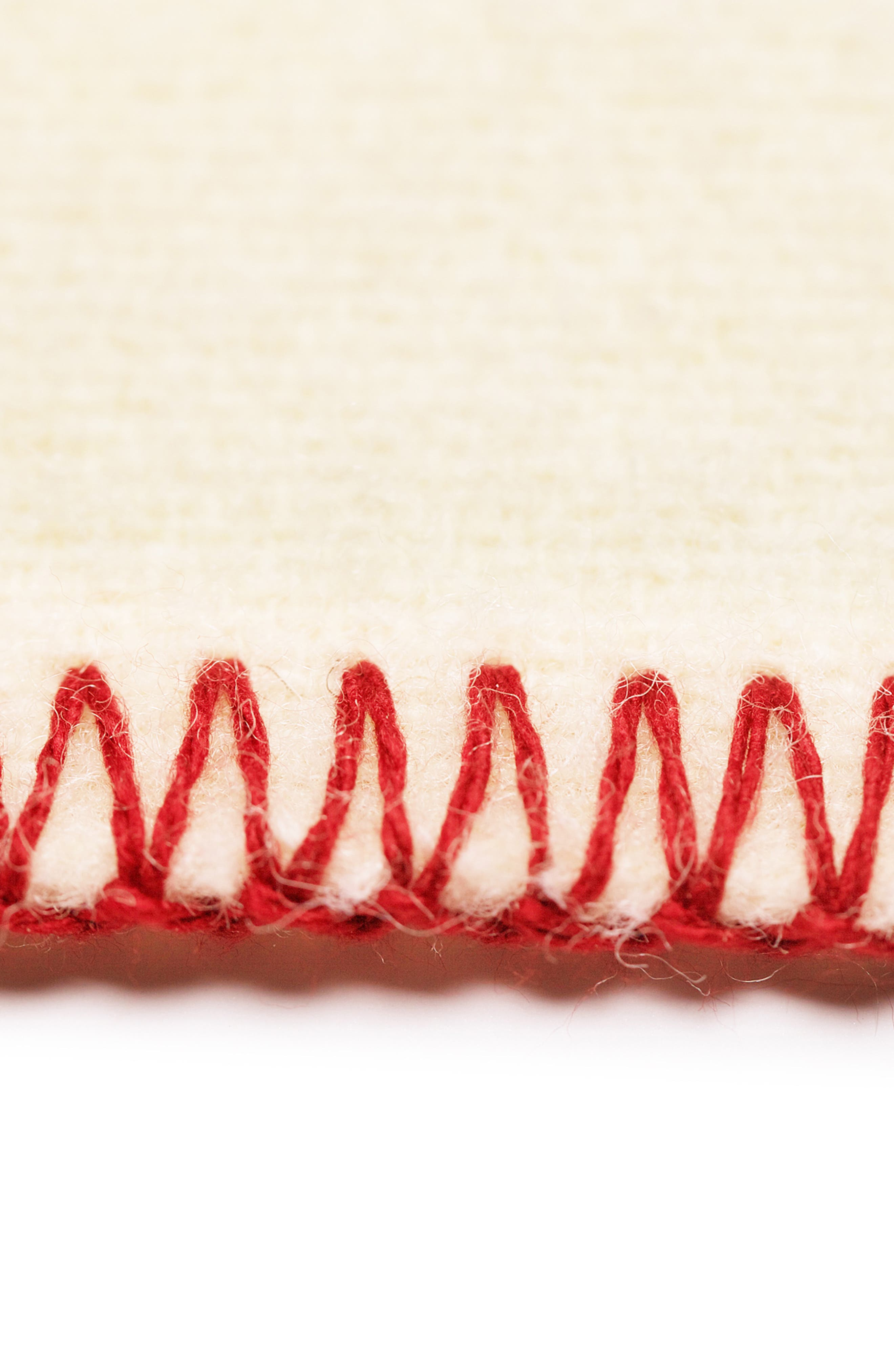 The Warm Wool Blend Blanket,                             Alternate thumbnail 4, color,                             WHITE/ BLUE/ RED