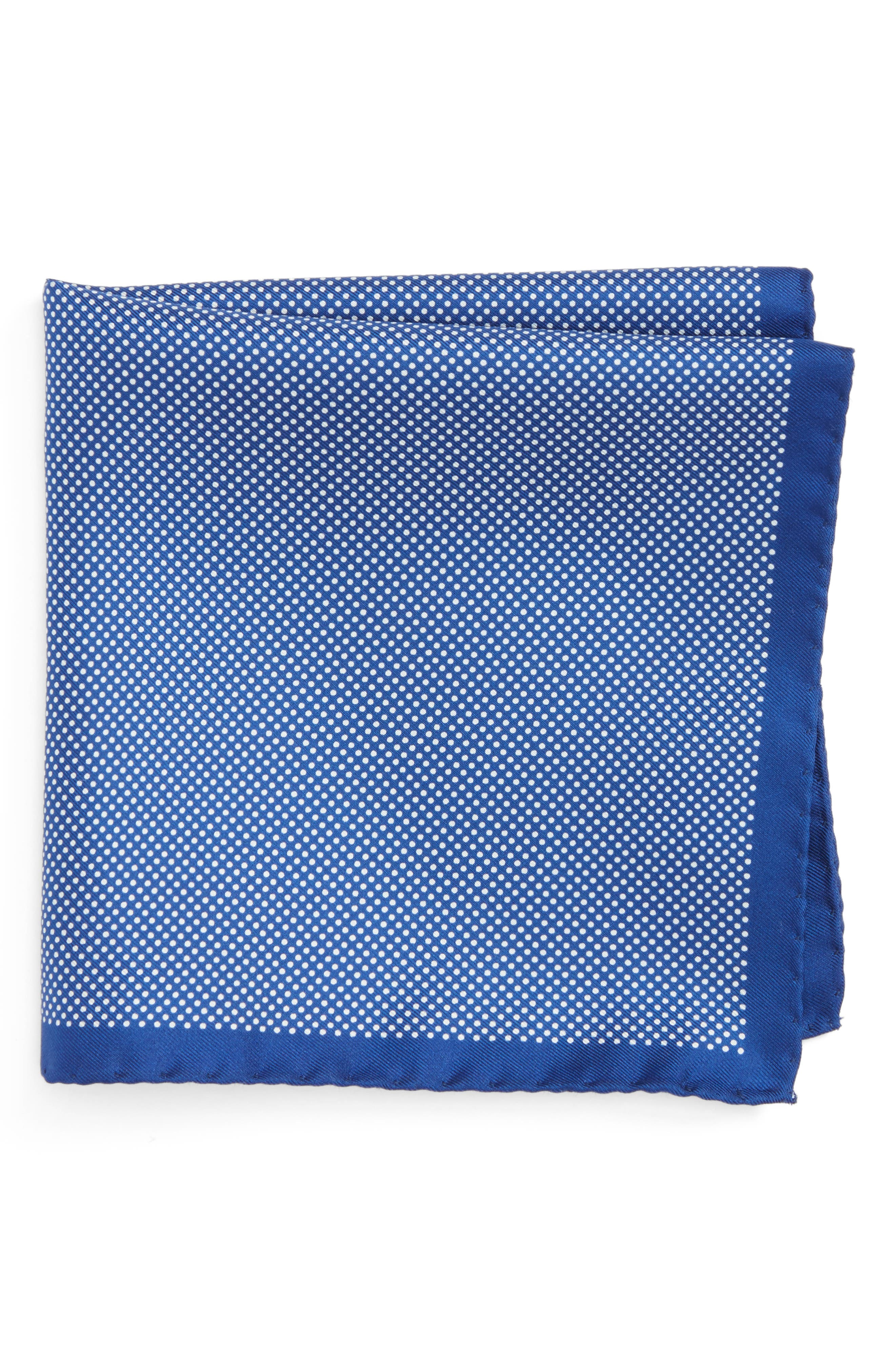 Dot Silk Pocket Square,                         Main,                         color, BLUE