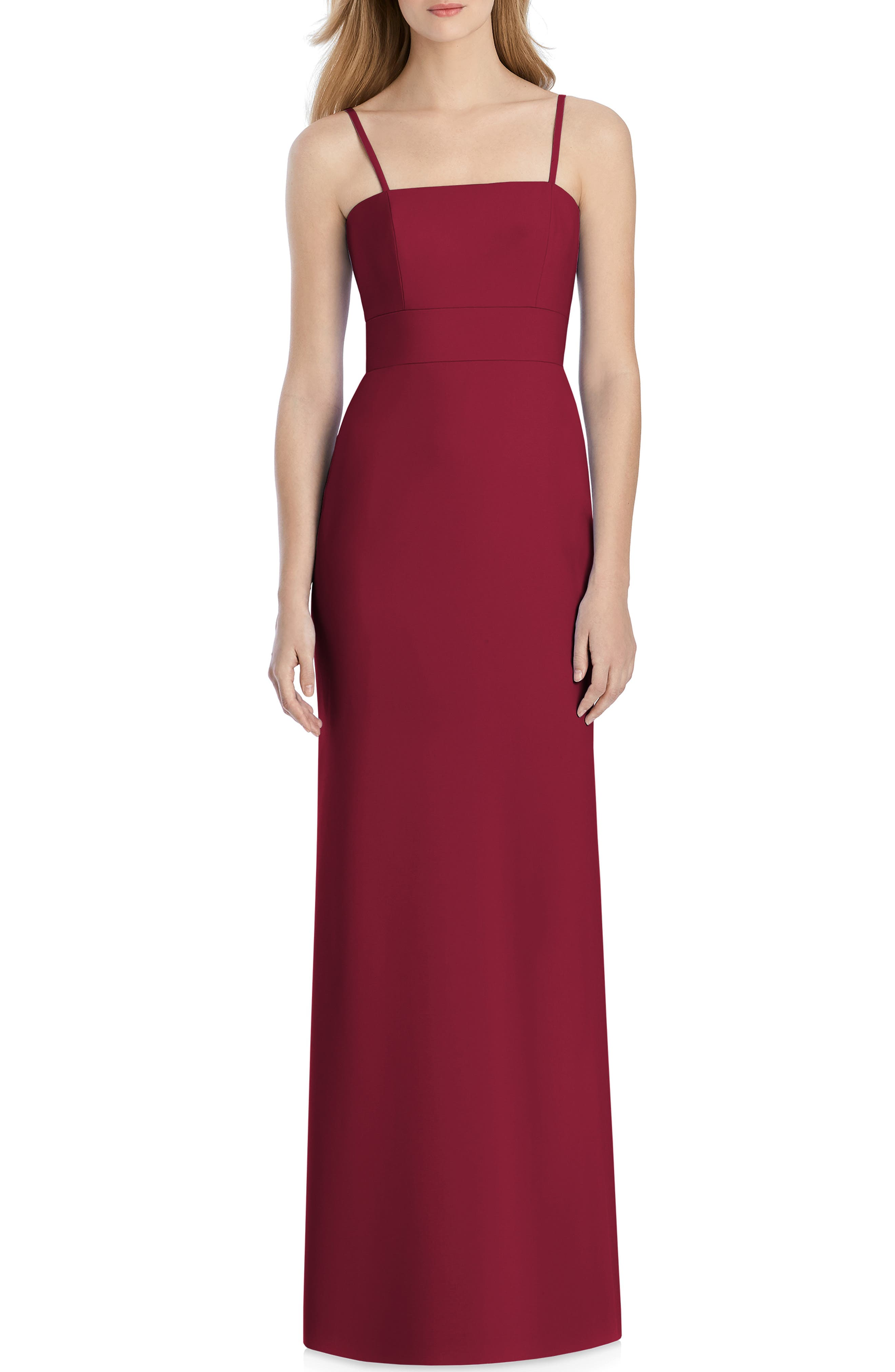 Lela Rose Bridesmaid Bow Back Crepe Gown, Red