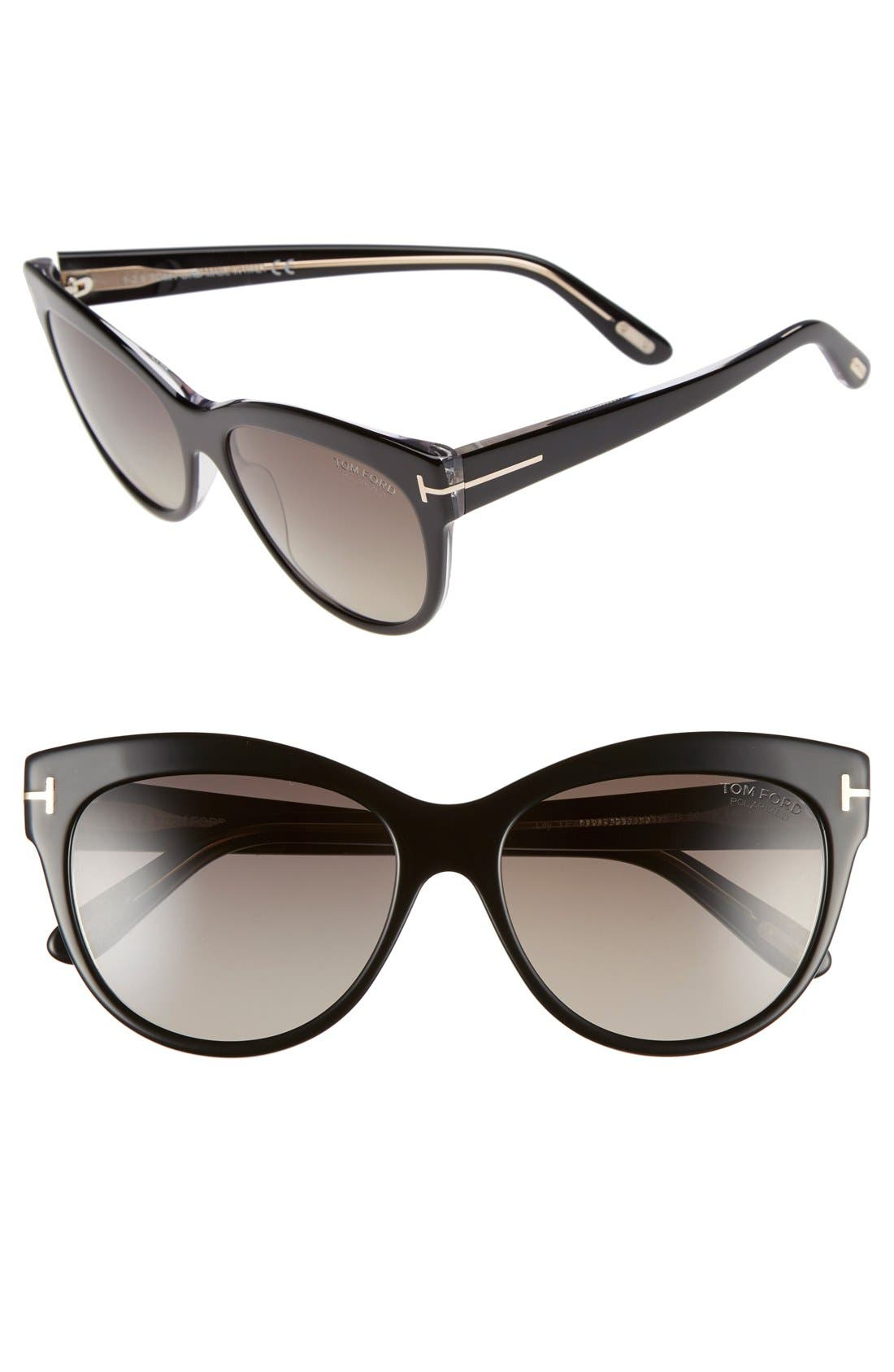'Lily' 56mm Polarized Cat Eye Sunglasses,                             Main thumbnail 1, color,                             001
