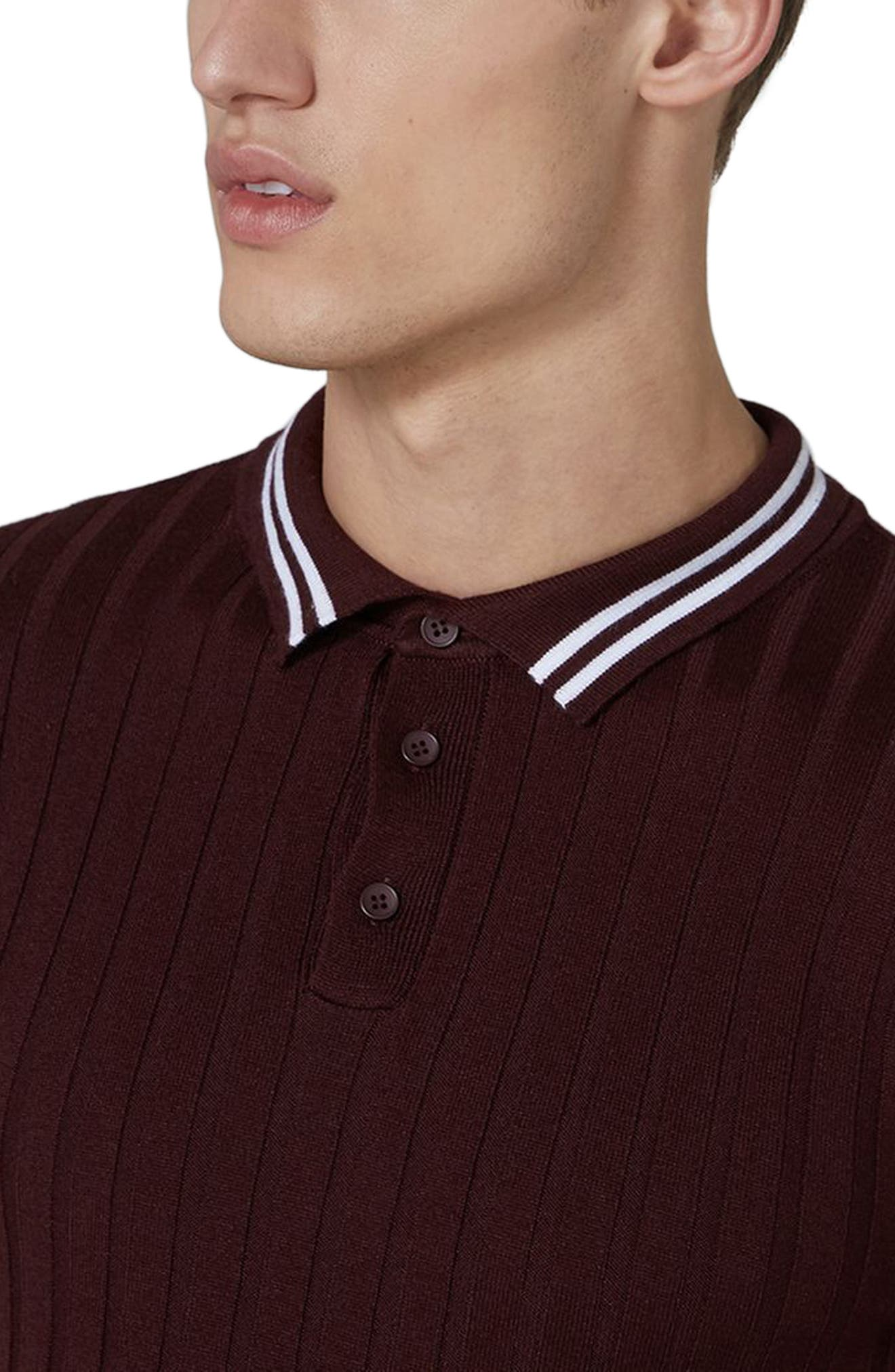 Slim Fit Rib Knit Polo,                             Alternate thumbnail 3, color,                             930