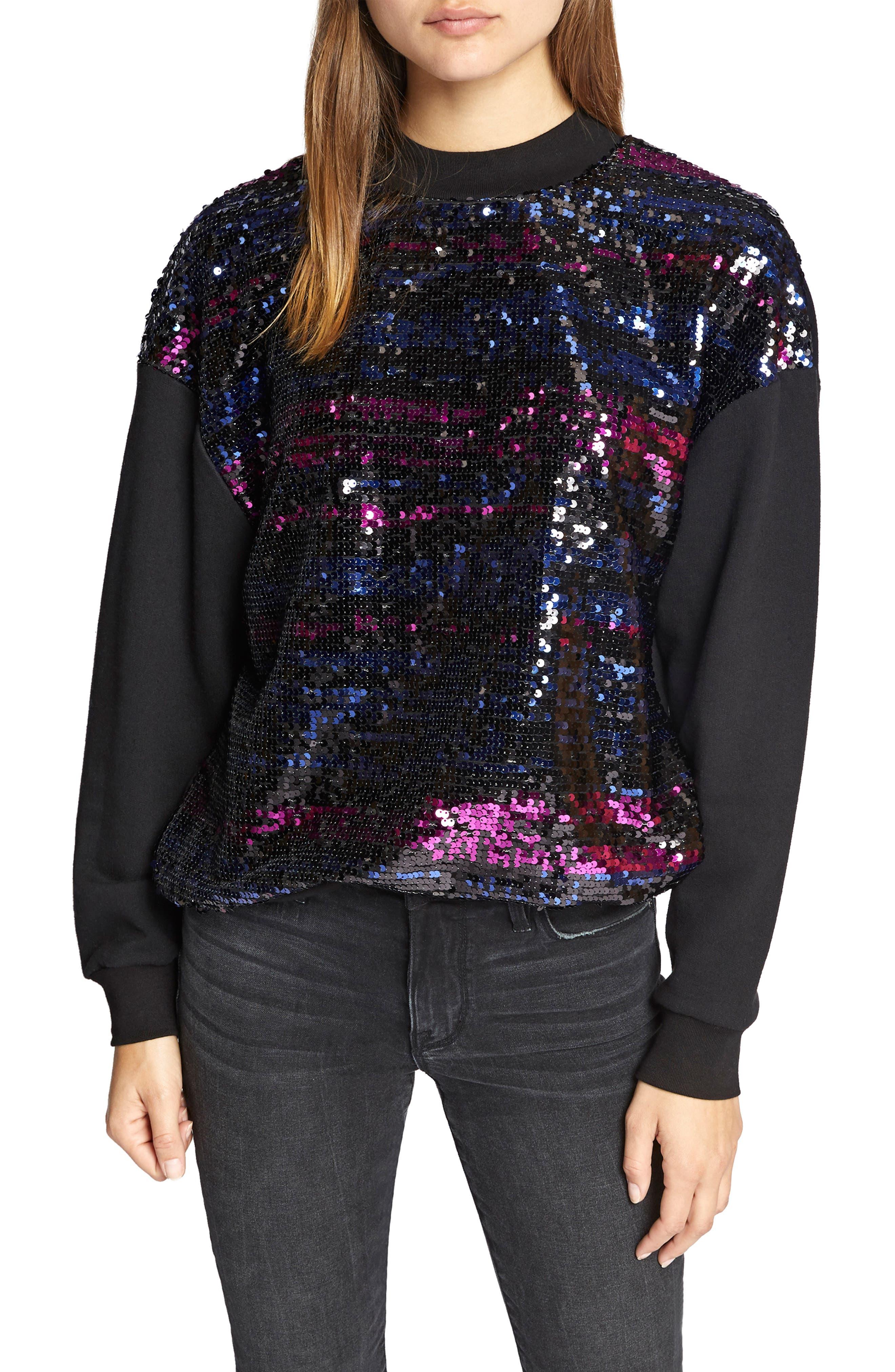 Last Dance Sequin Sweatshirt,                             Main thumbnail 1, color,                             BLACK