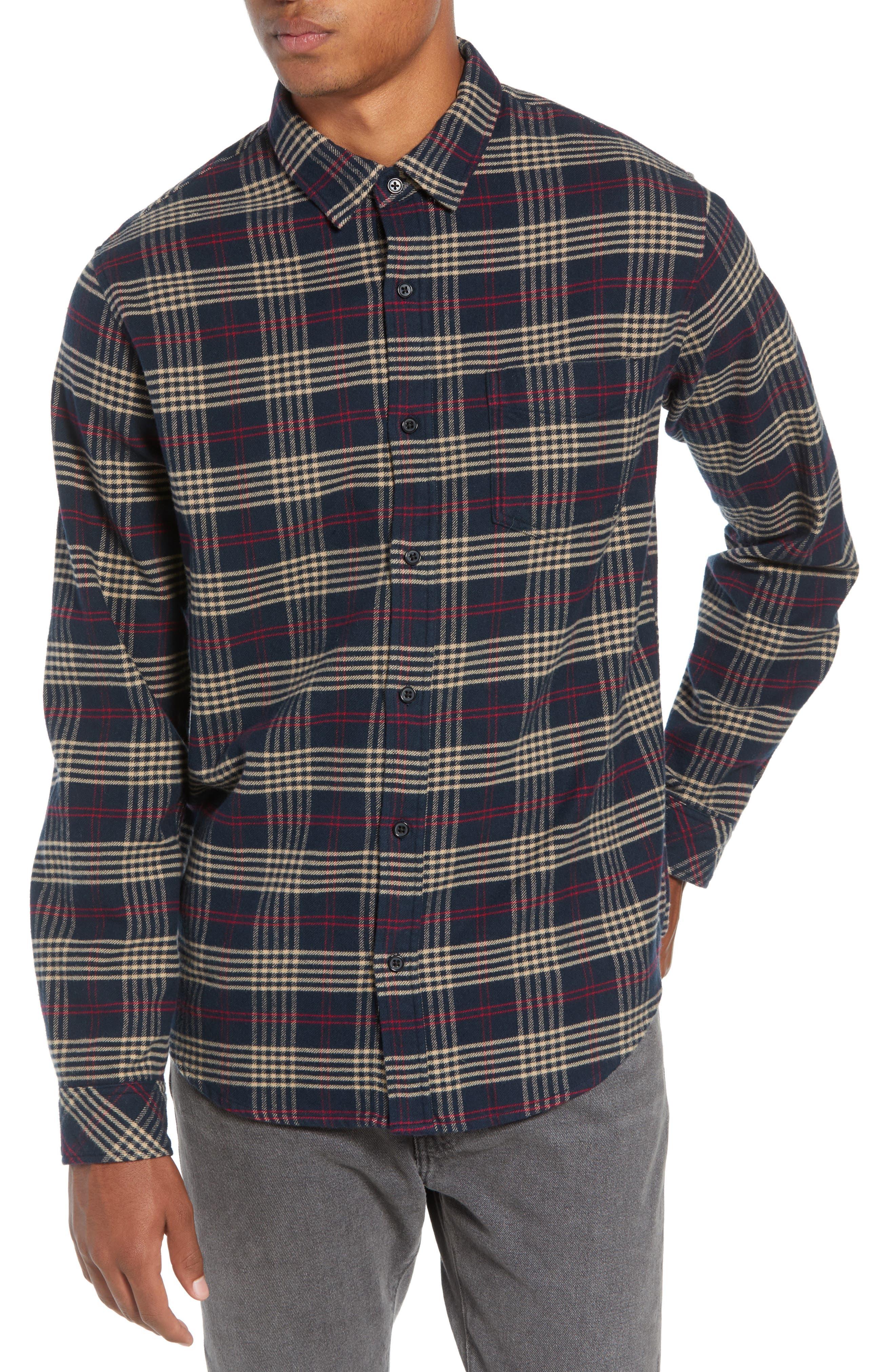 Forrest Slim Fit Plaid Flannel Sport Shirt,                         Main,                         color, NAVY/RED/ELM