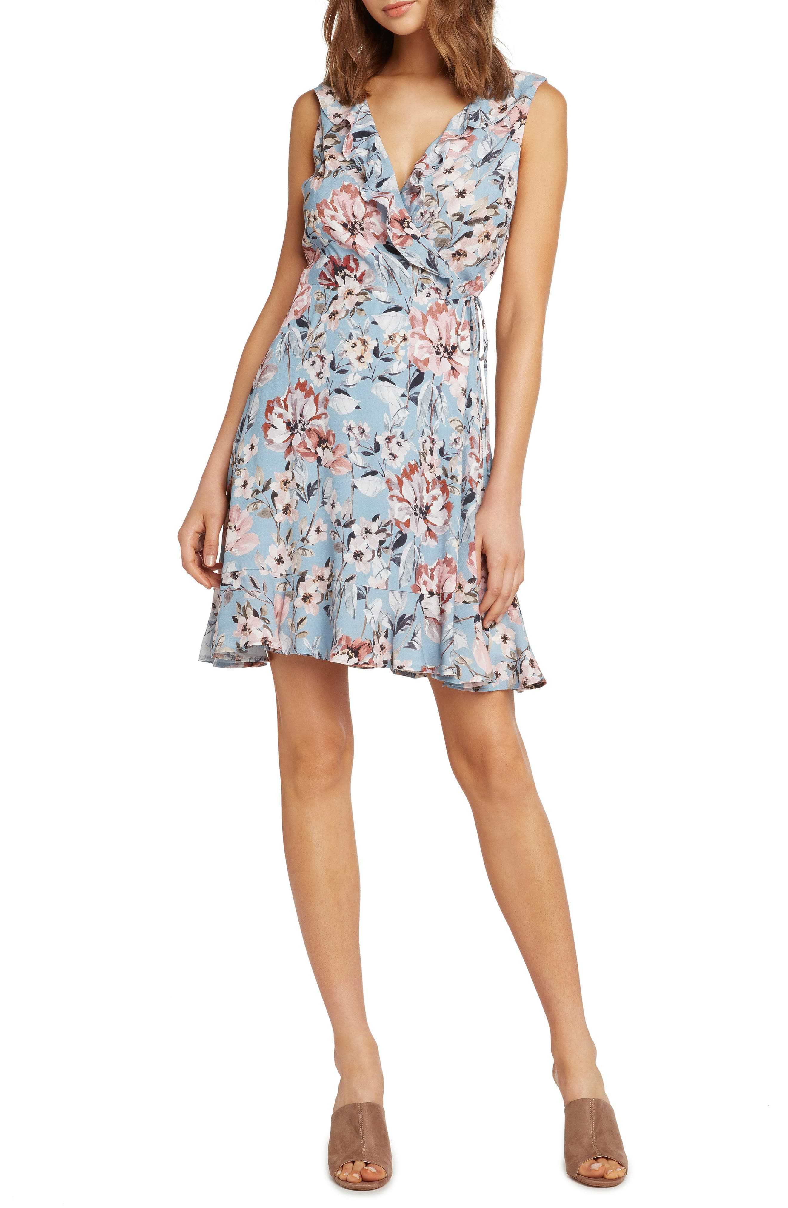 Print Wrap Dress,                         Main,                         color, FRENCH BLUE