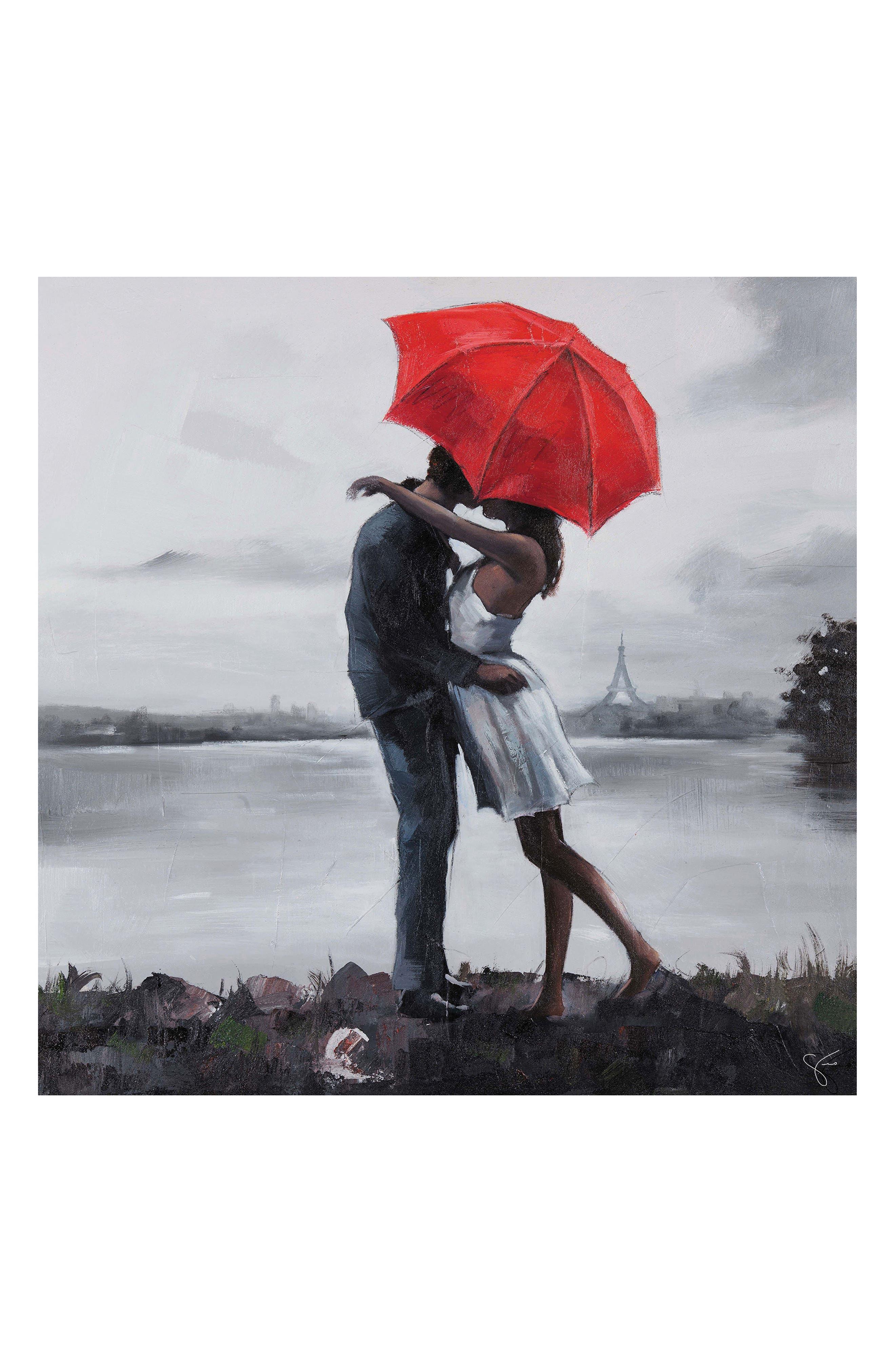 Kissing in the Rain Canvas Art,                             Main thumbnail 1, color,                             020