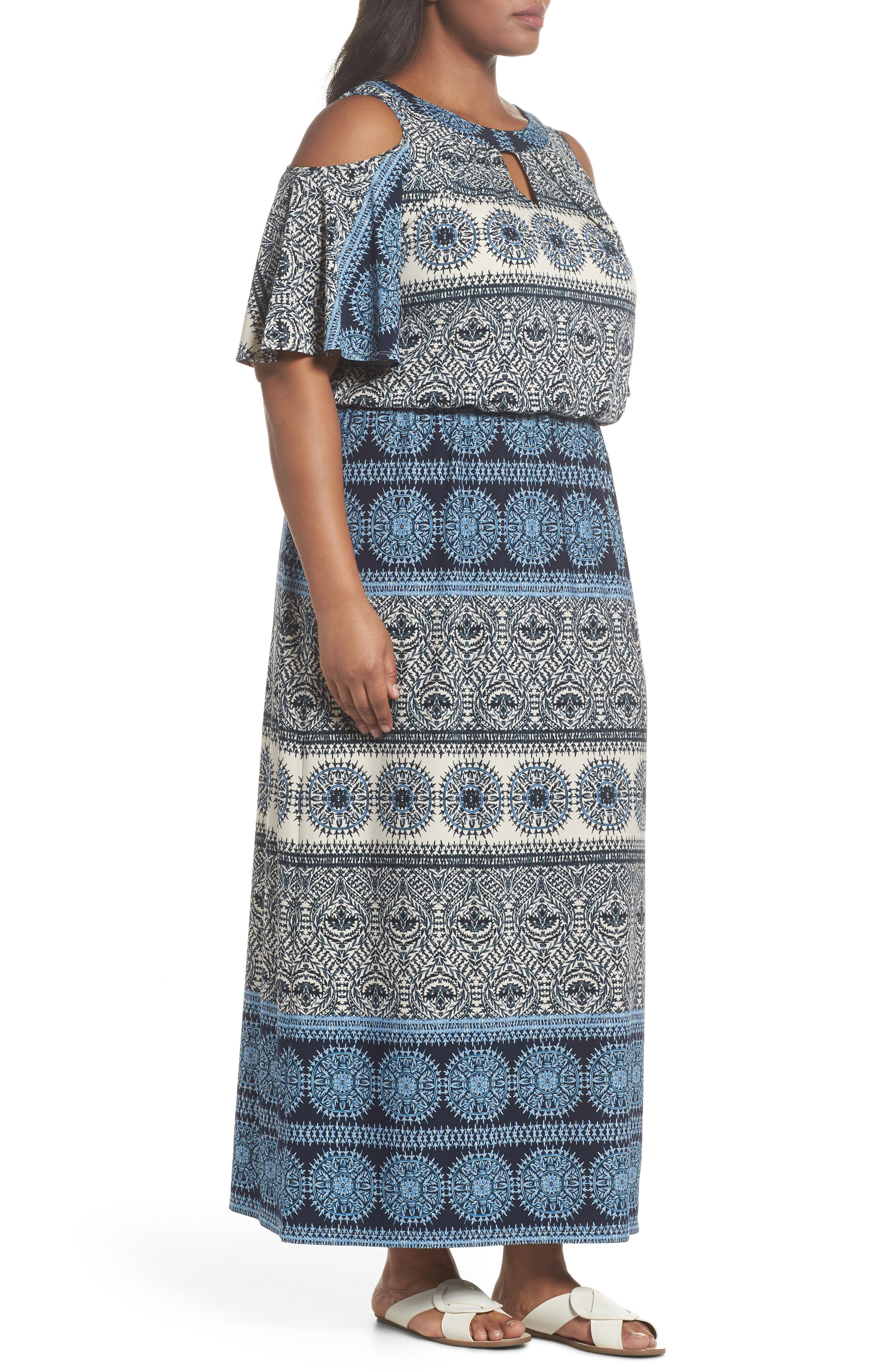 Print Cold Shoulder Blouson Maxi Dress,                             Alternate thumbnail 3, color,                             IVORY/ BLUE