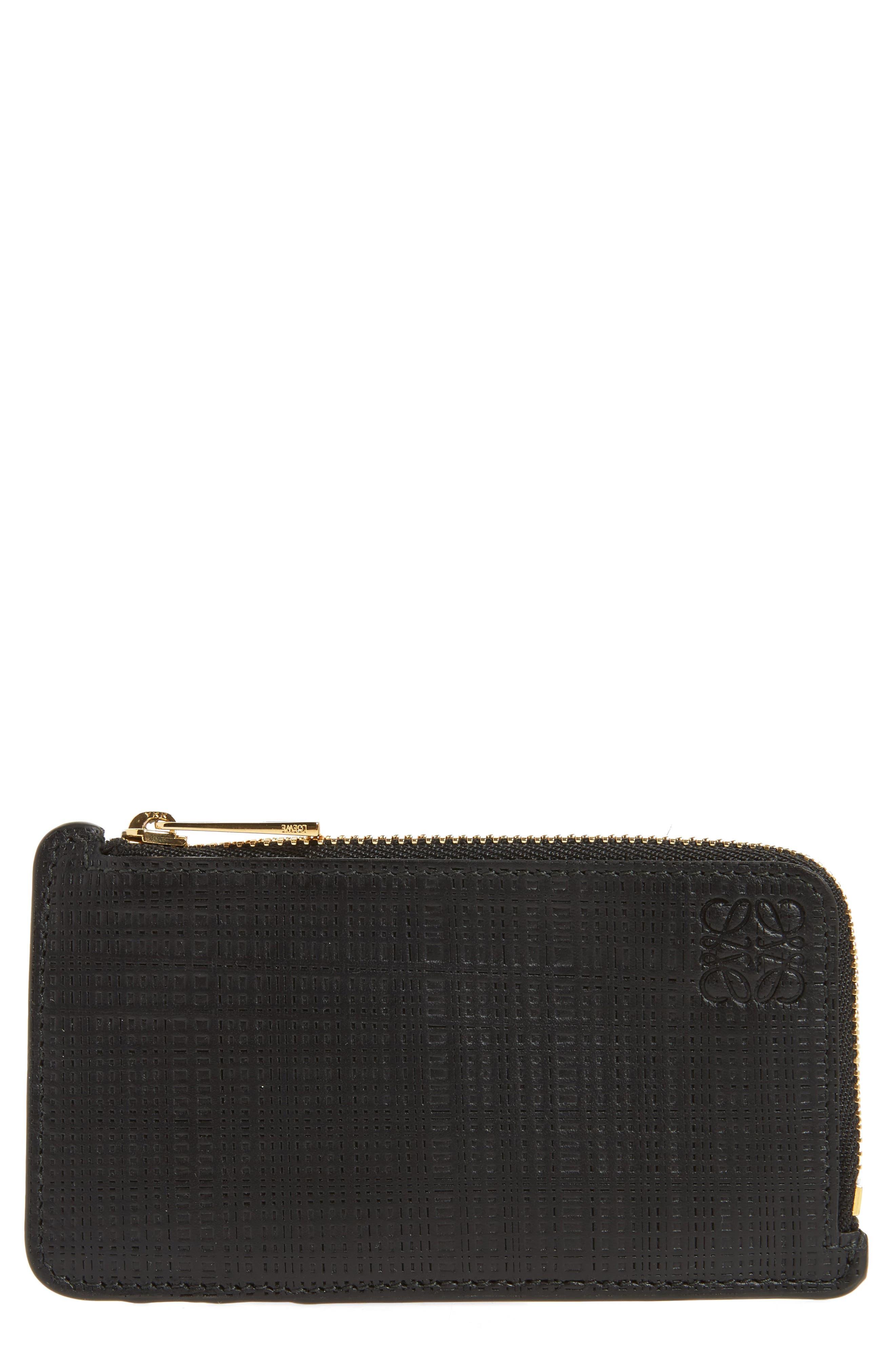 Calfskin Leather Zip Wallet,                         Main,                         color, 001