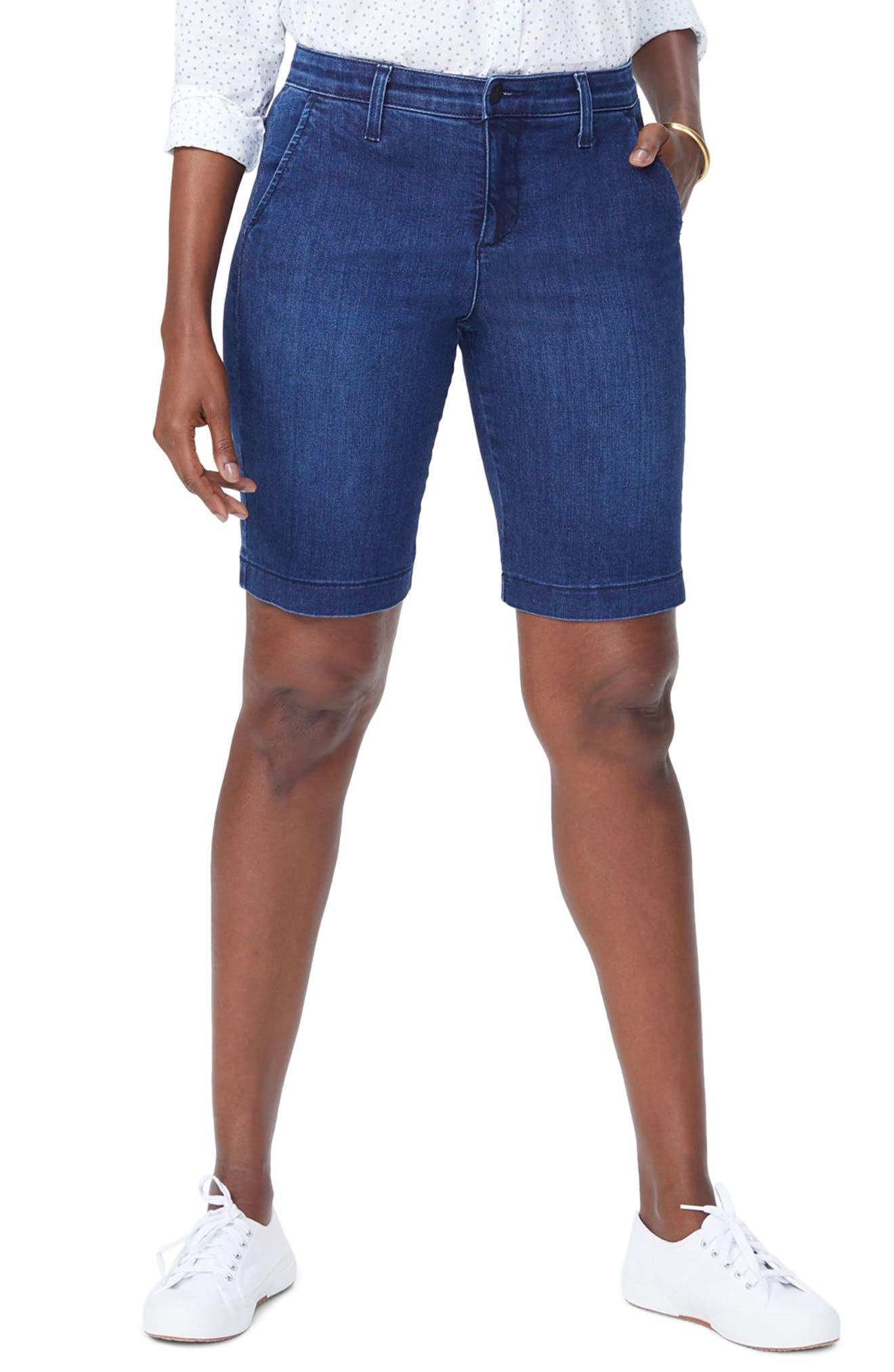 Marilyn Stretch Denim Bermuda Shorts,                         Main,                         color, COOPER