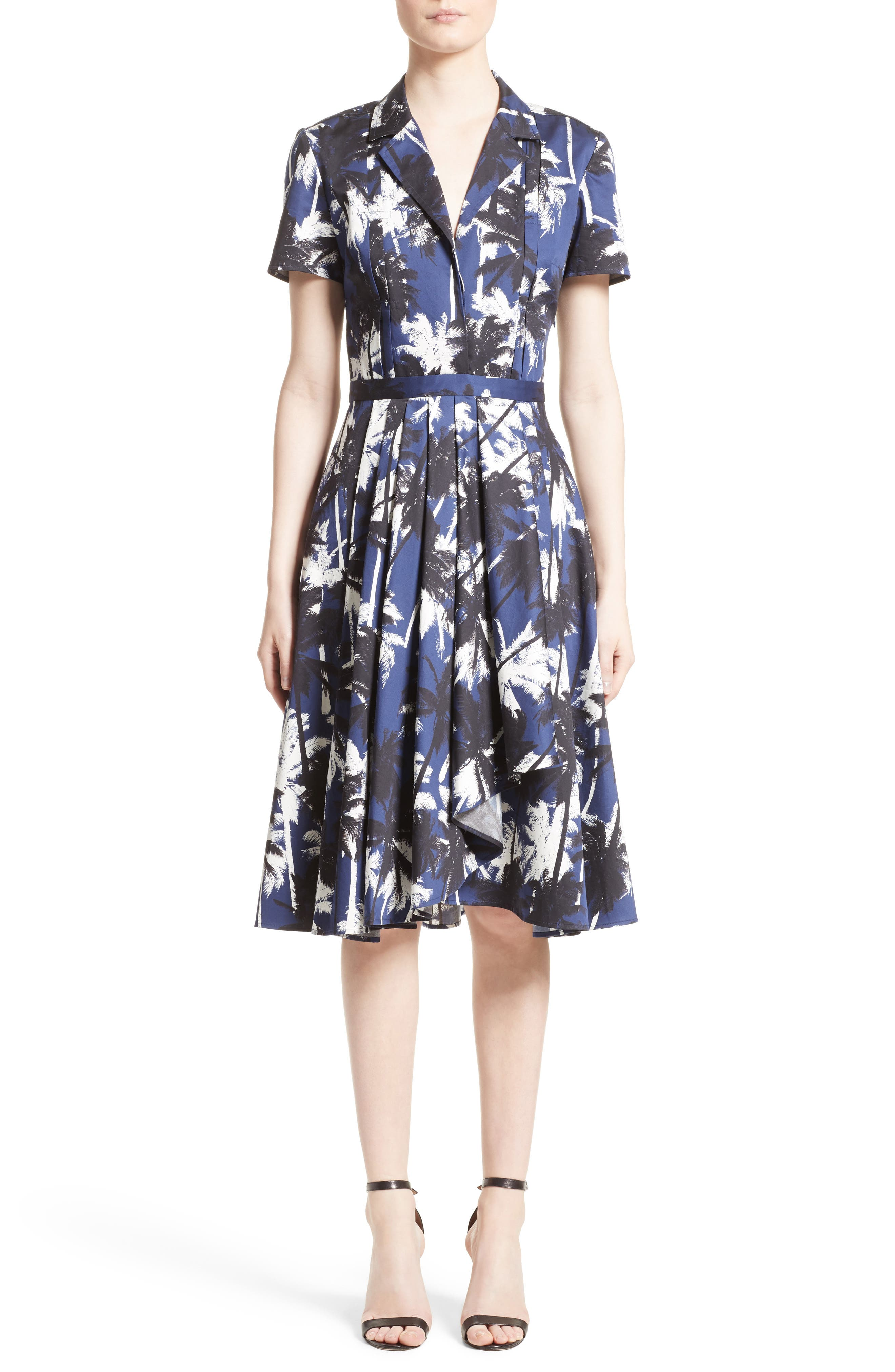 Print Cotton Fit & Flare Shirtdress,                         Main,                         color, 411