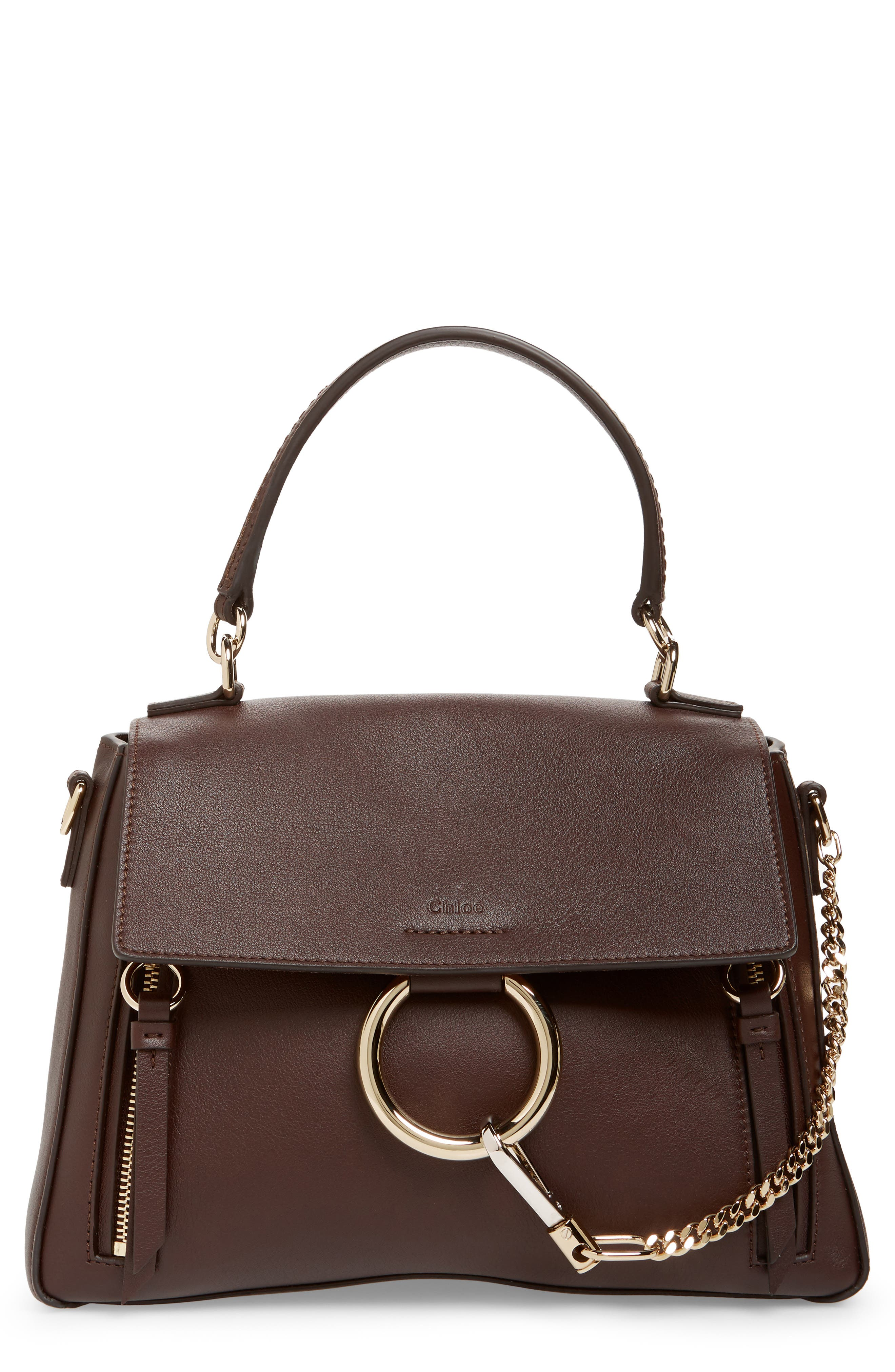 Small Faye Day Leather Shoulder Bag,                         Main,                         color, CARBON BROWN