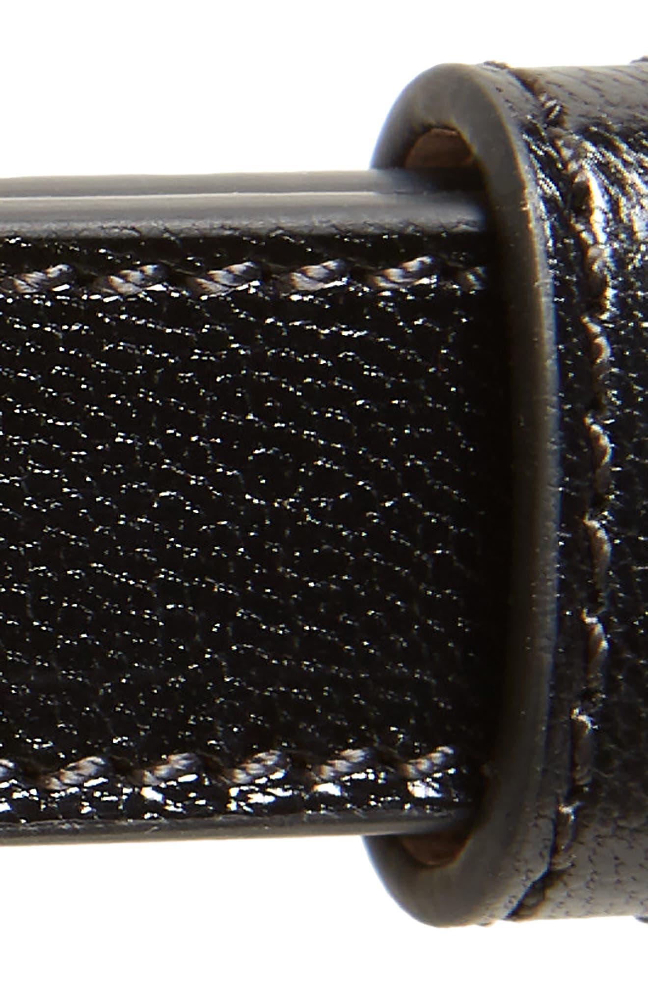 2G Logo Plaque Leather Belt,                             Alternate thumbnail 3, color,                             BLACK/ GOLD
