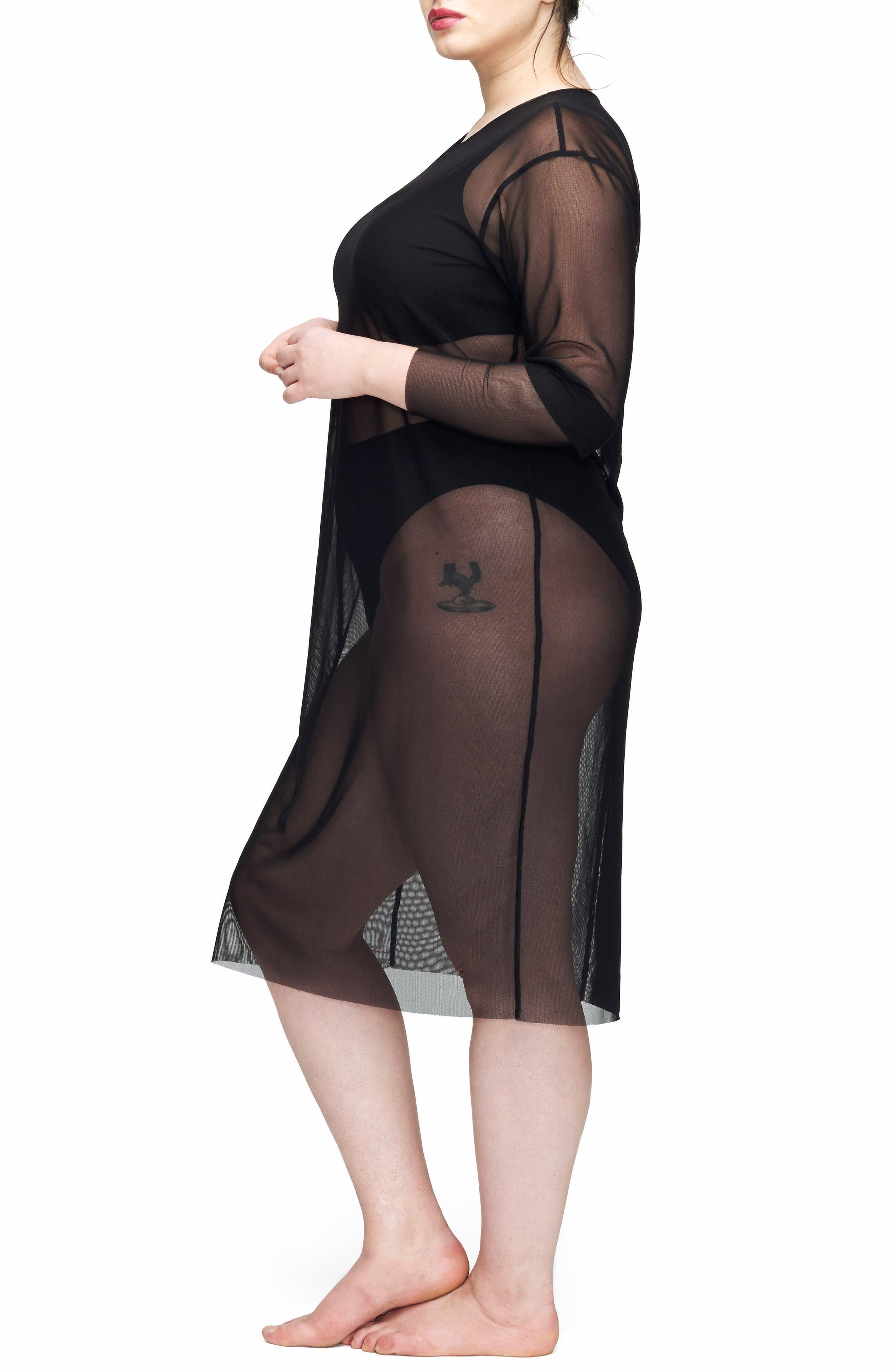 Thames Fog Sheer Dress,                             Alternate thumbnail 3, color,                             BLACK