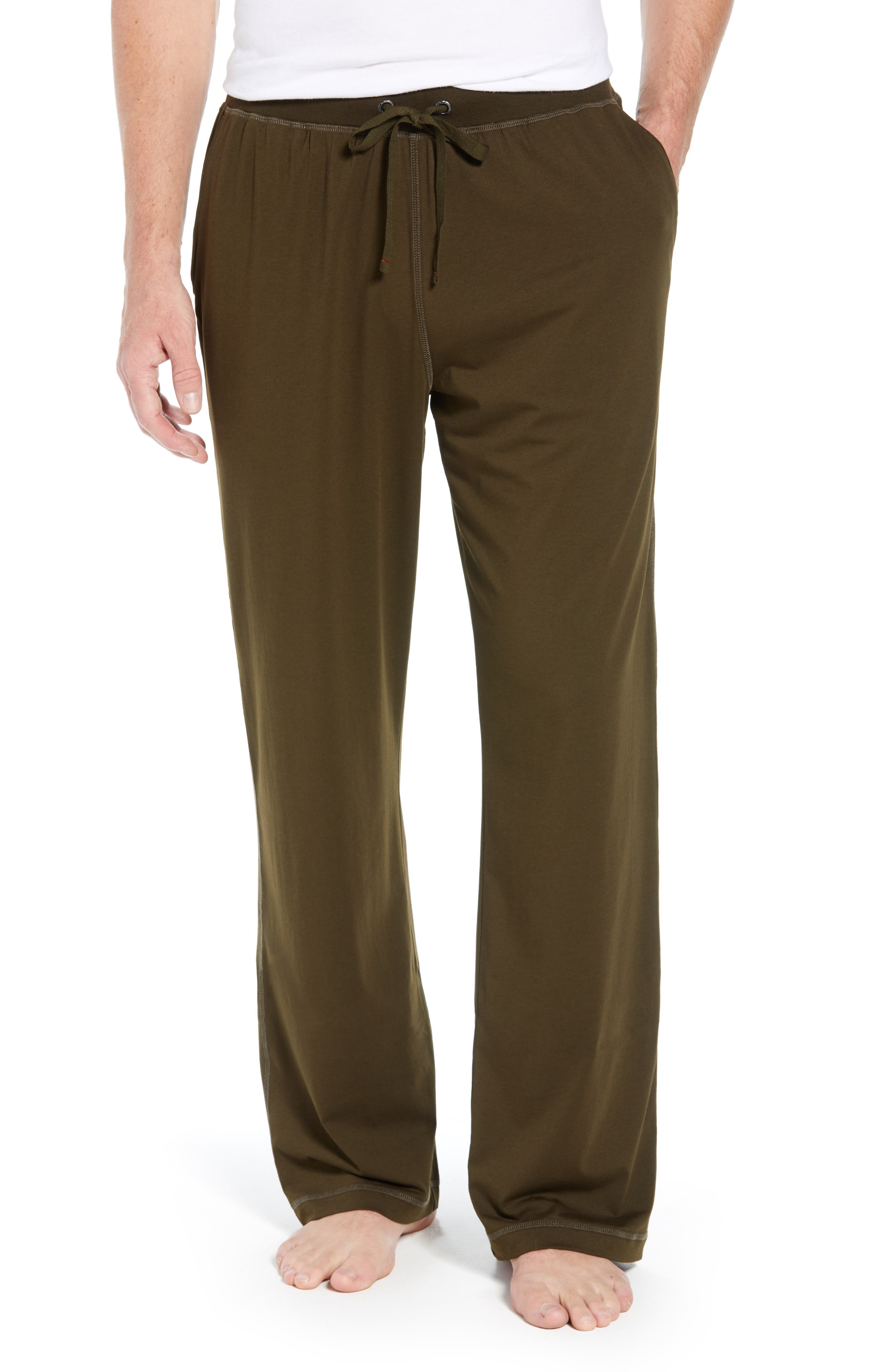 Stretch Cotton & Modal Lounge Pants,                         Main,                         color, ARMY