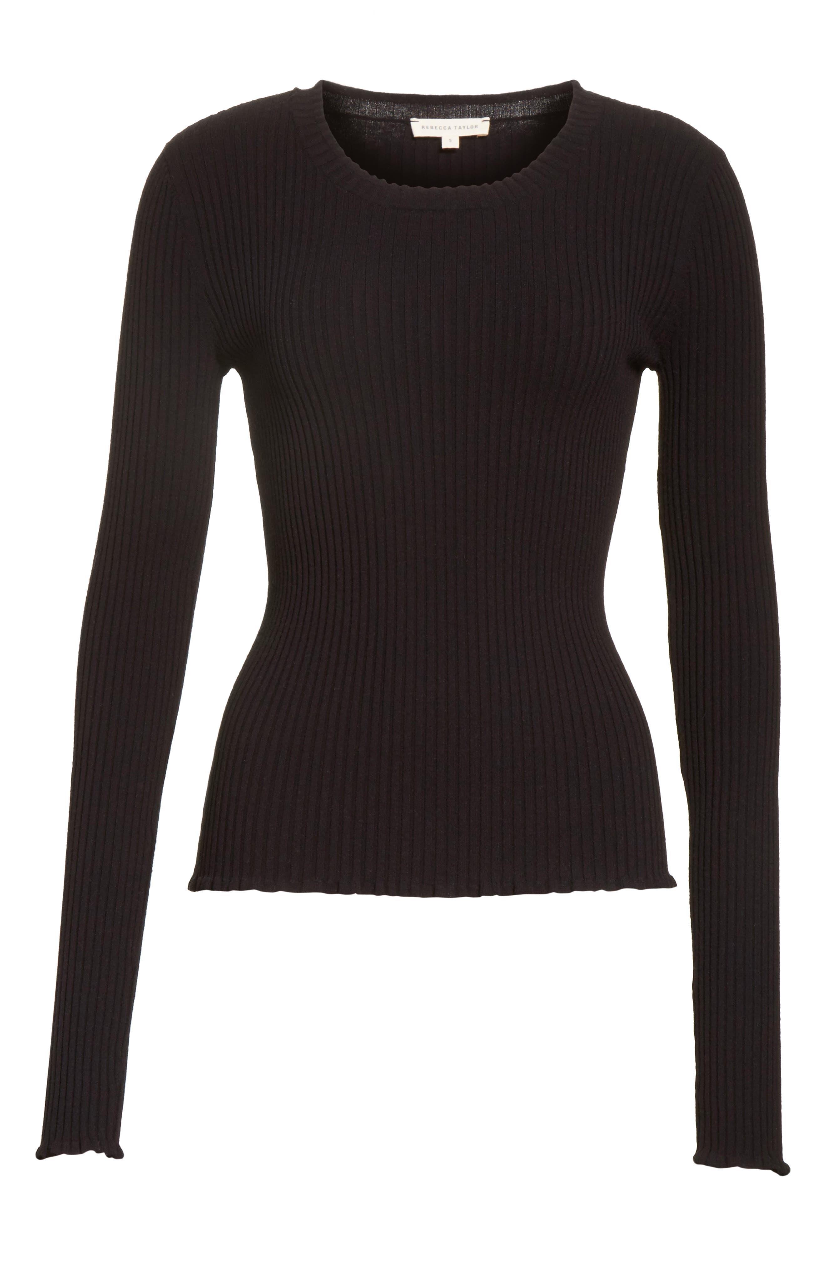 Rib Knit Scoop Neck Sweater,                             Alternate thumbnail 6, color,                             001