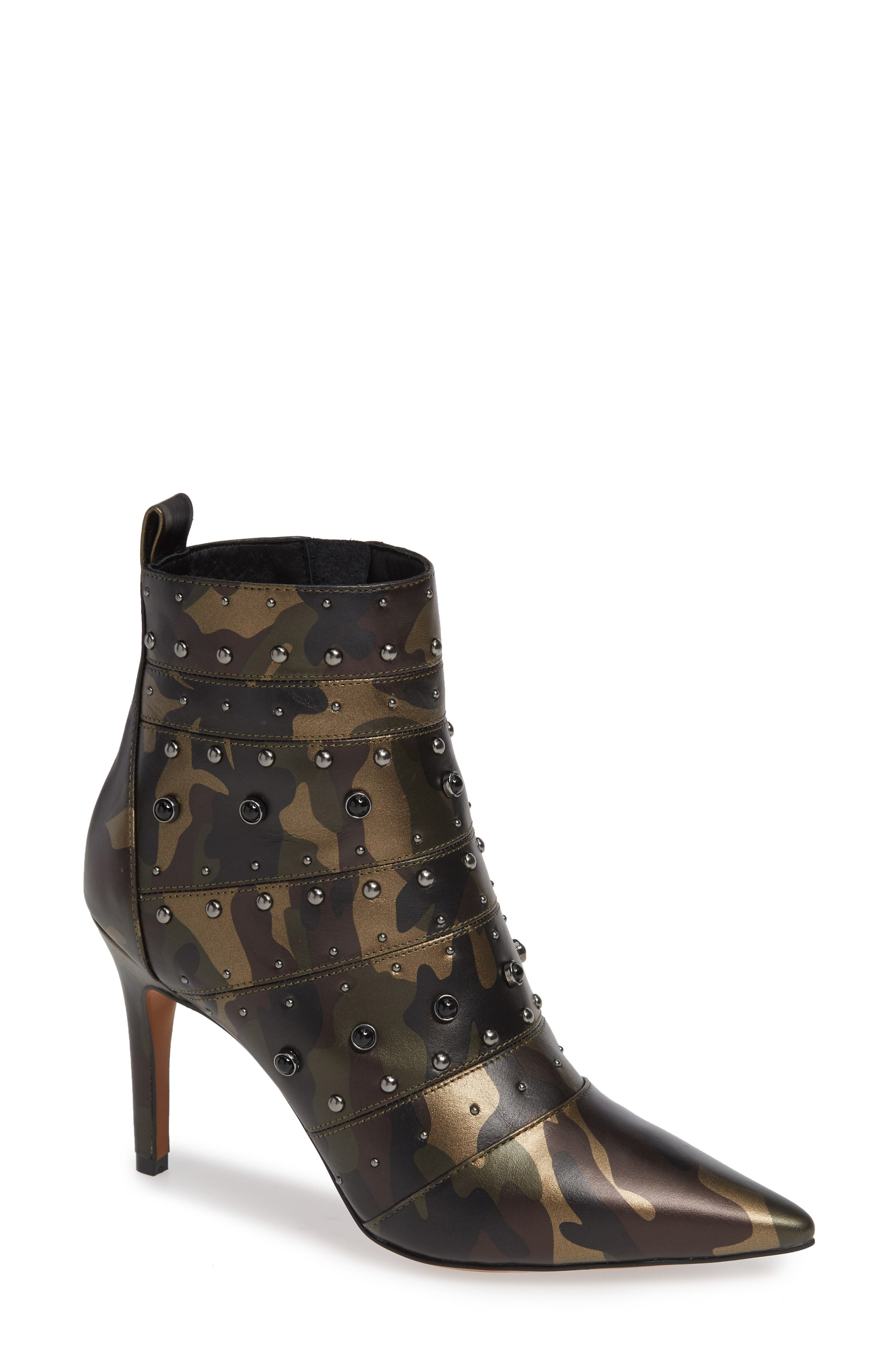 Nara Studded Bootie,                             Main thumbnail 1, color,                             CAMO LEATHER