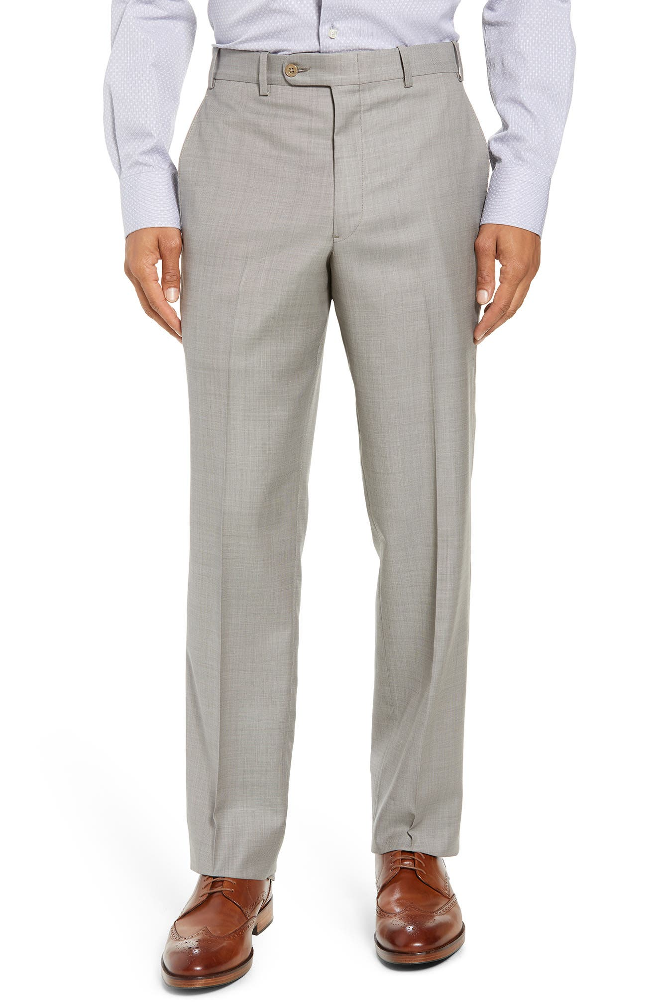 Torino Flat Front Solid Wool Trousers,                             Main thumbnail 3, color,