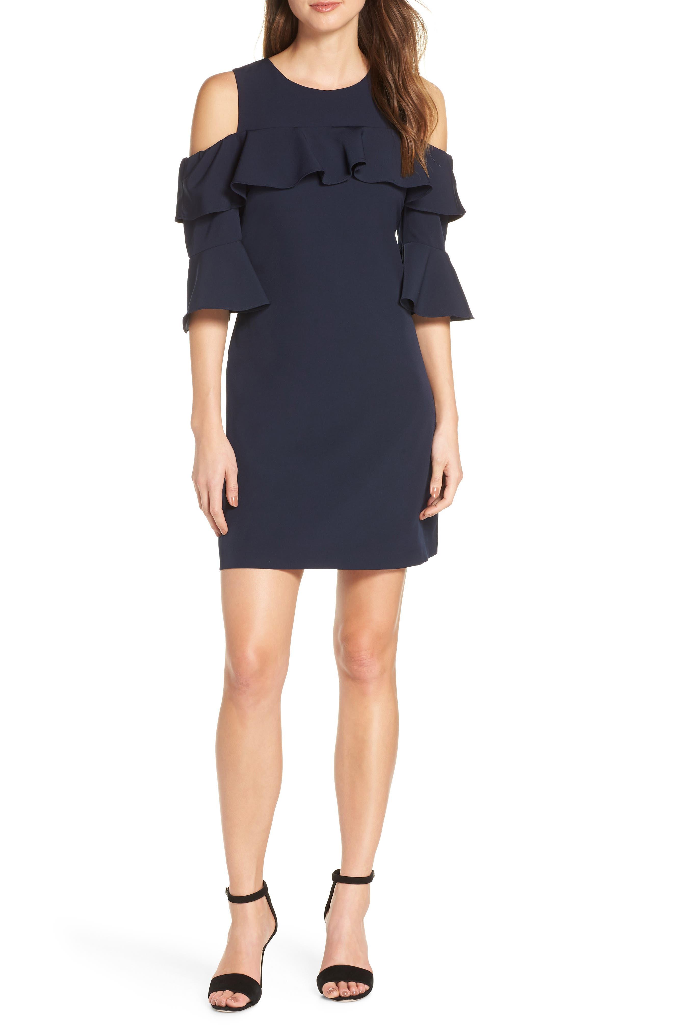 Eliza J Ruffle Cold Shoulder Shift Dress, Blue