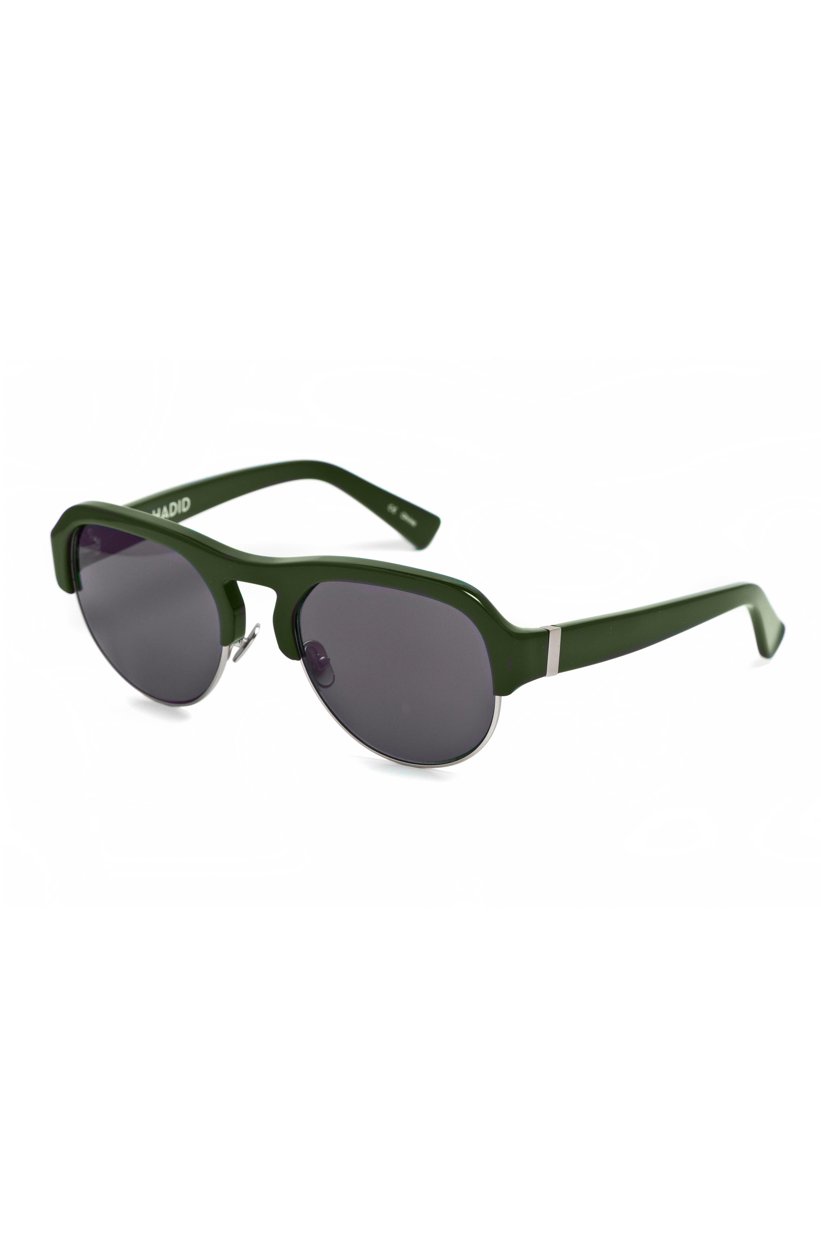 Nomad 52mm Sunglasses,                             Alternate thumbnail 4, color,                             OLIVE/ SILVER