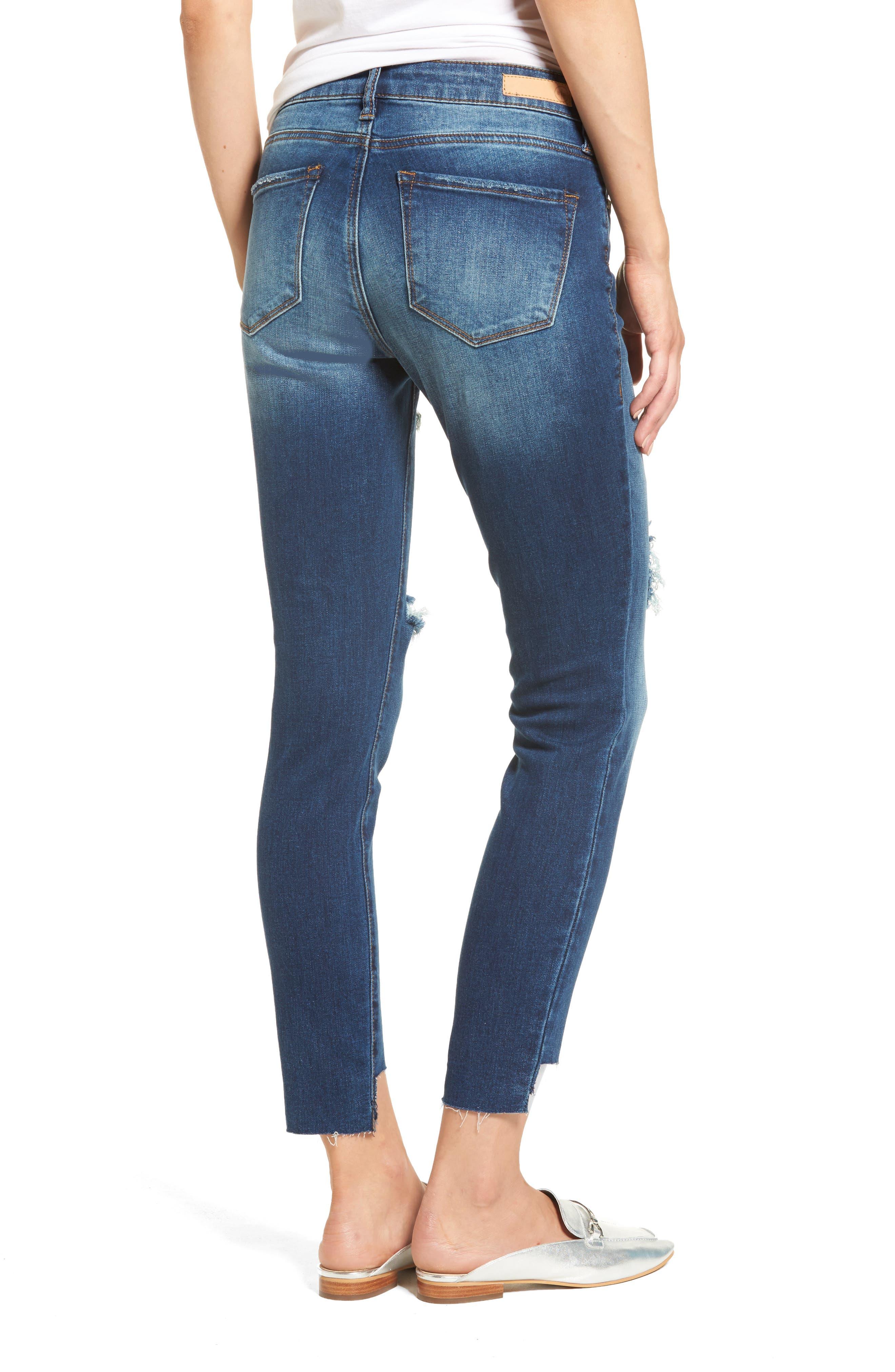 Ripped Step Hem Skinny Jeans,                             Alternate thumbnail 2, color,                             420