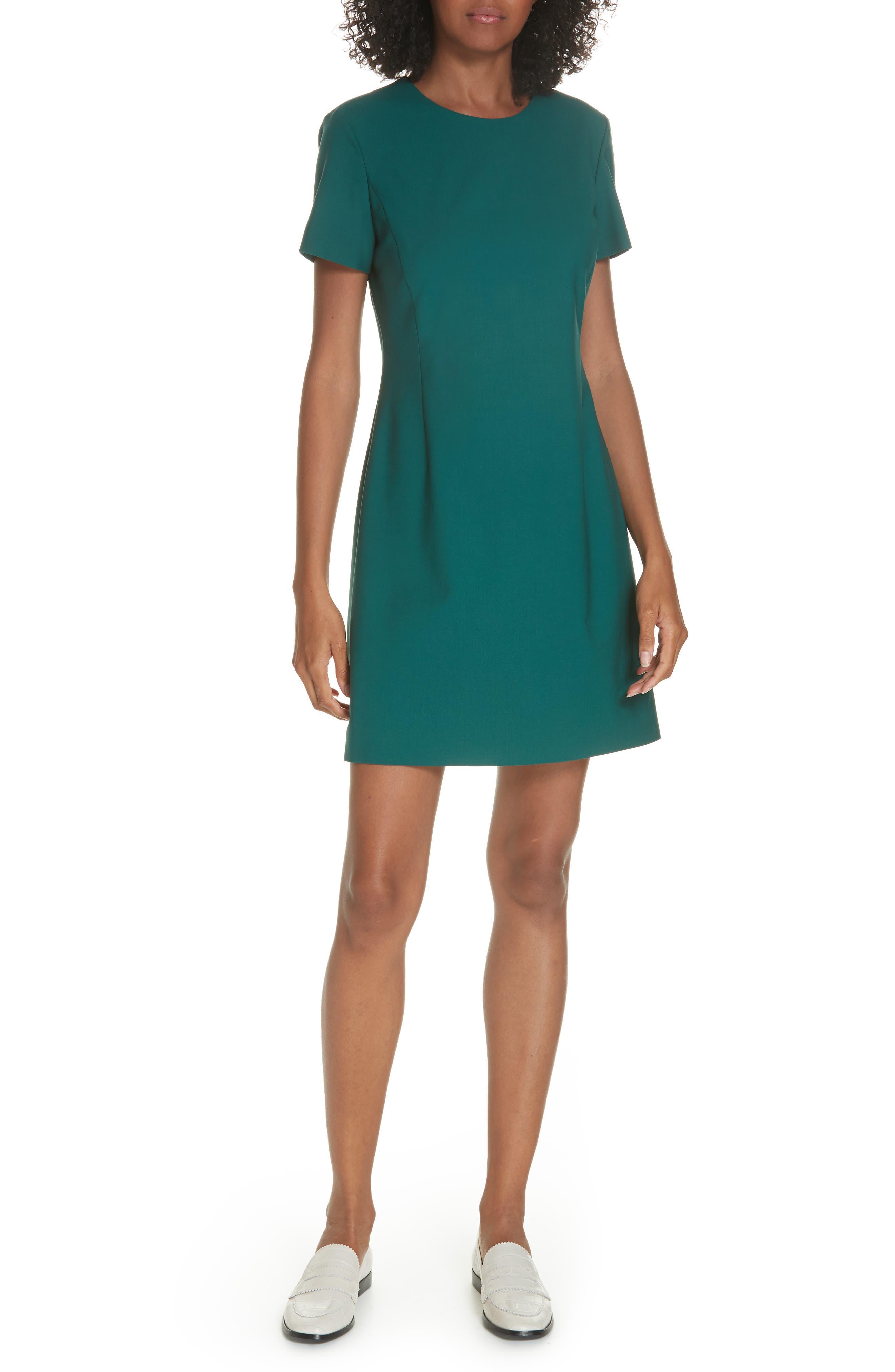 Theory Stretch Wool A-Line Dress, Green