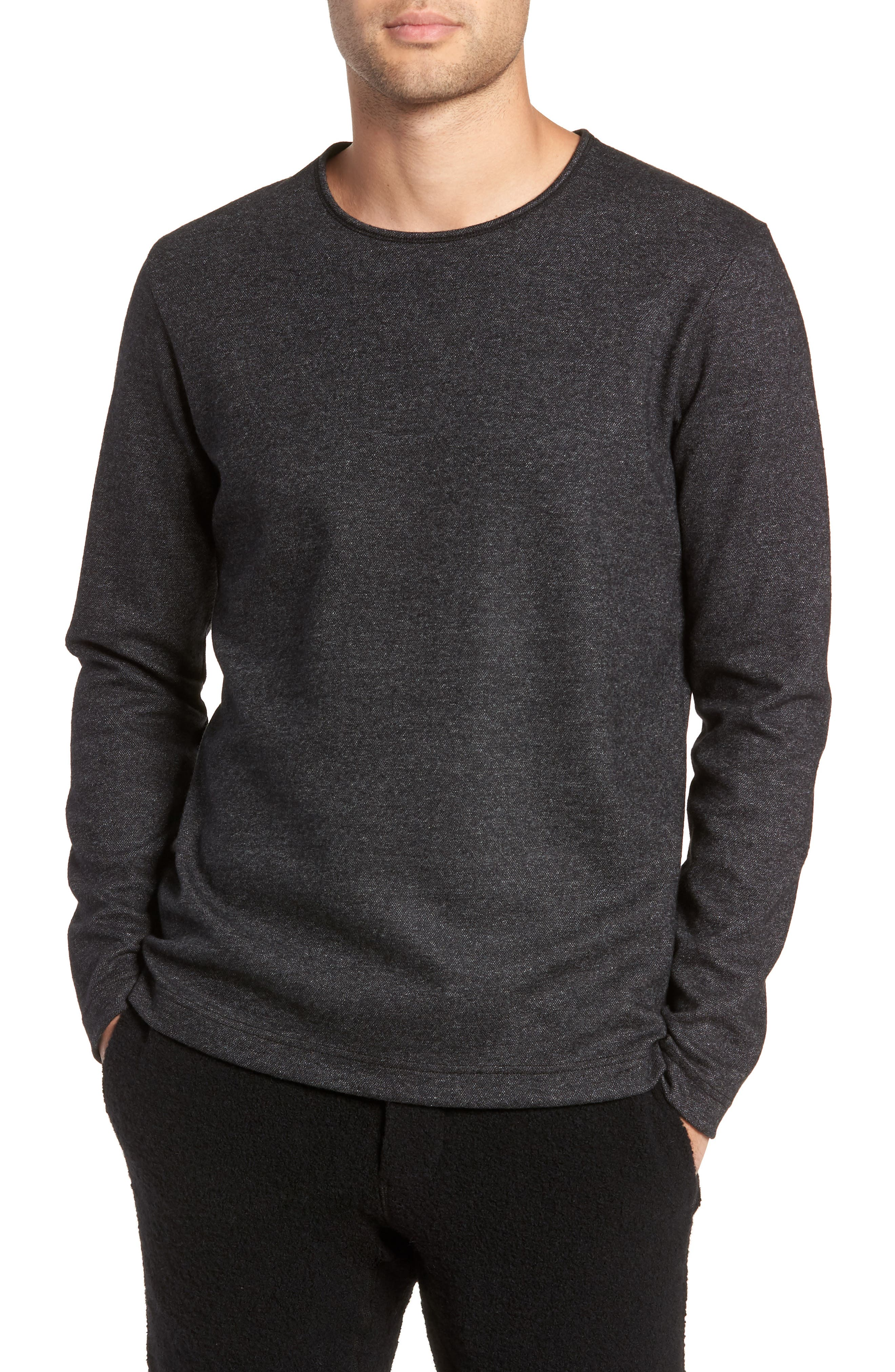 Crewneck Wool Blend Sweater,                             Main thumbnail 1, color,                             MEDIUM BLACK