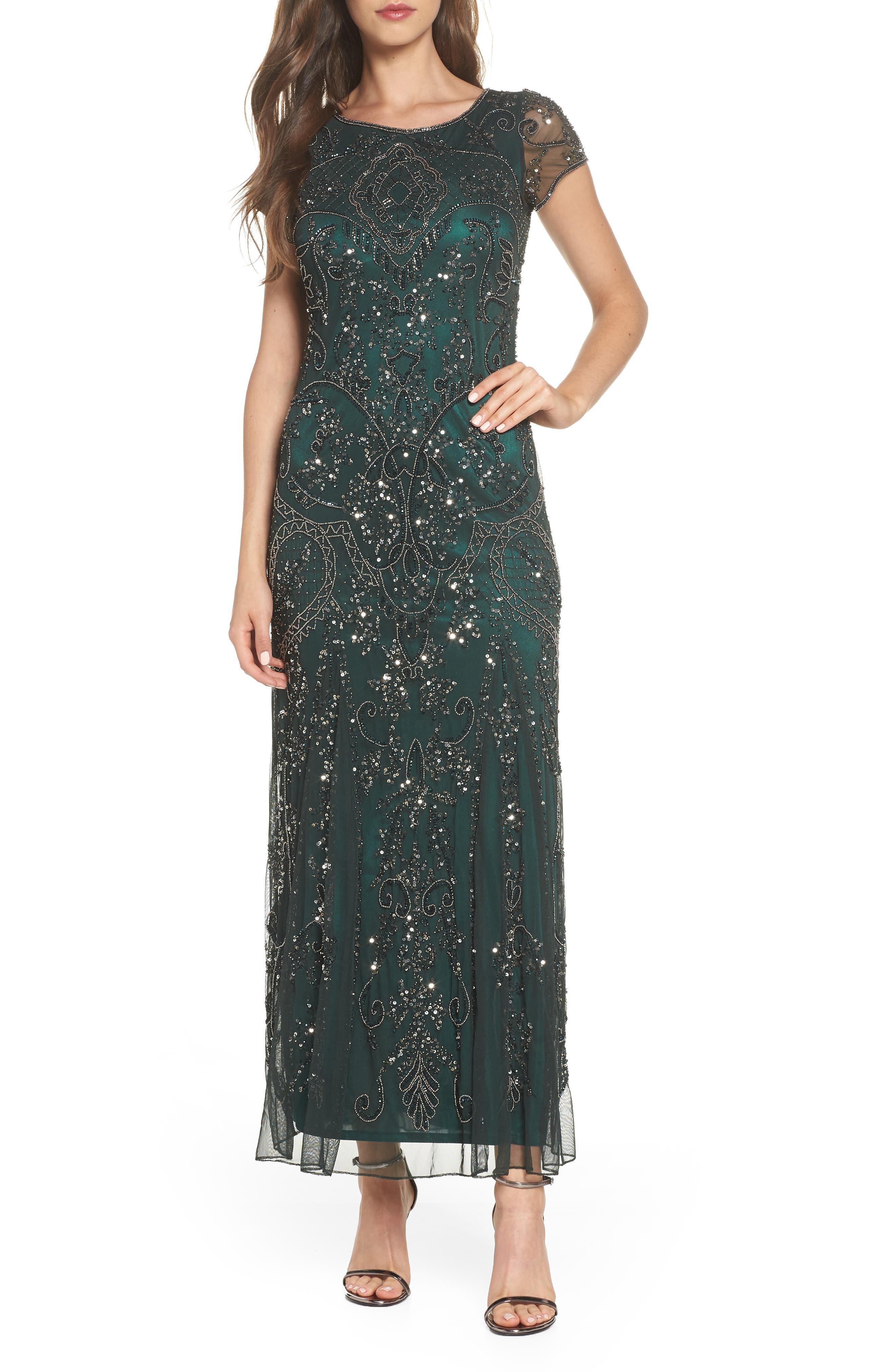 Pisarro Nights Embellished Mesh Gown, Green