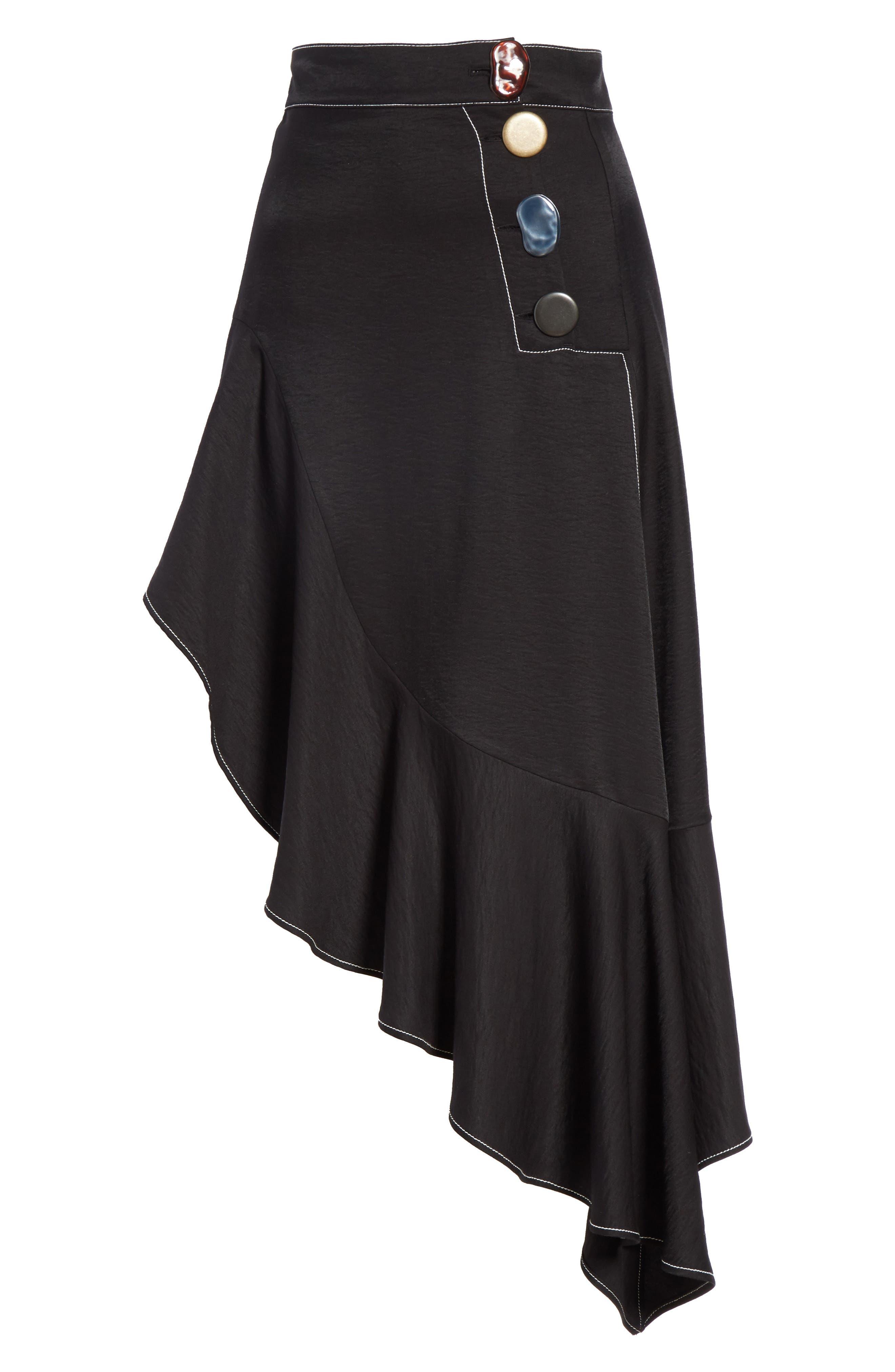 Ella Asymmetrical Ruffle Skirt,                             Alternate thumbnail 6, color,                             001