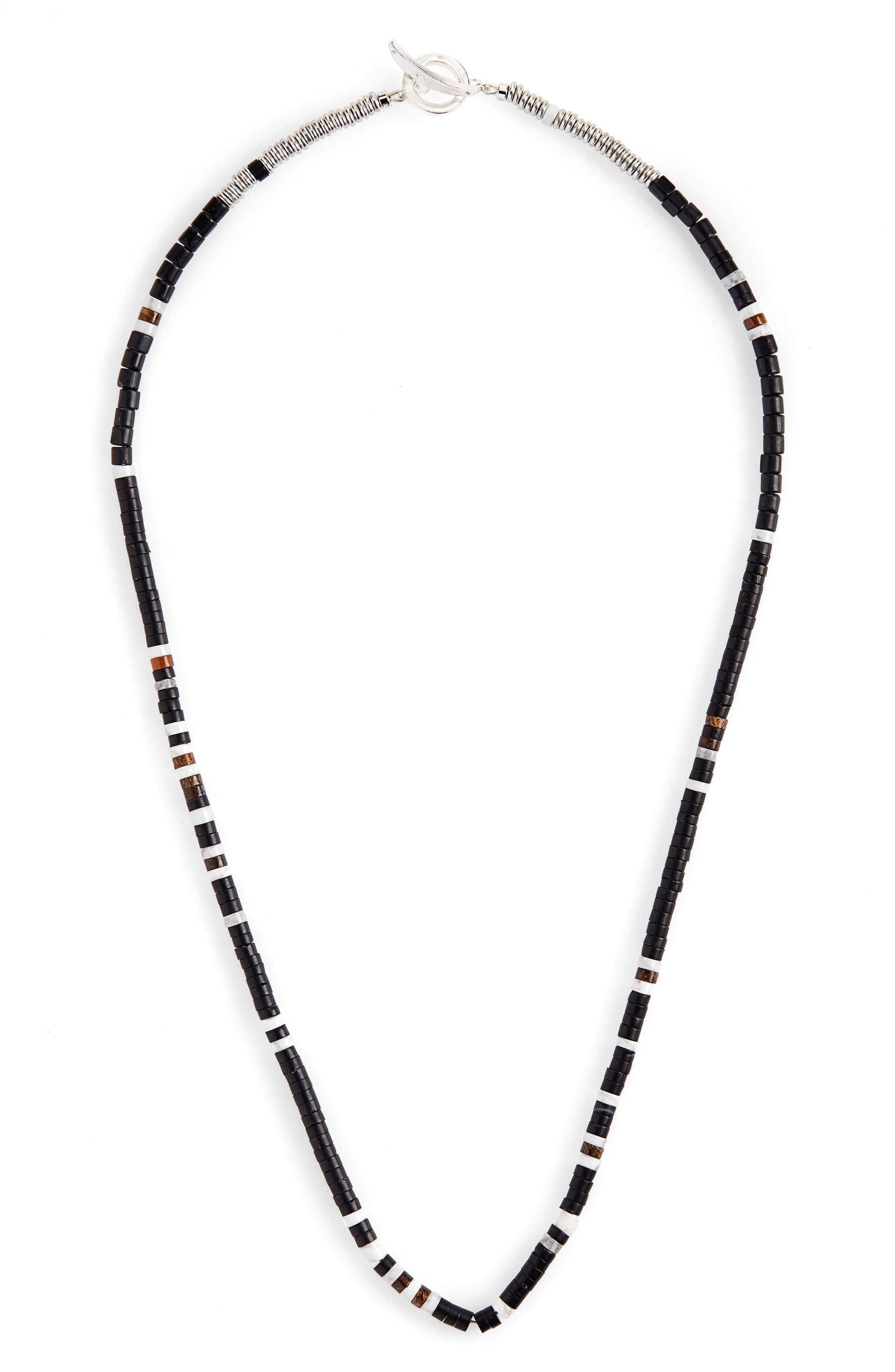 MIKIA Bead Necklace in Metallic Silver