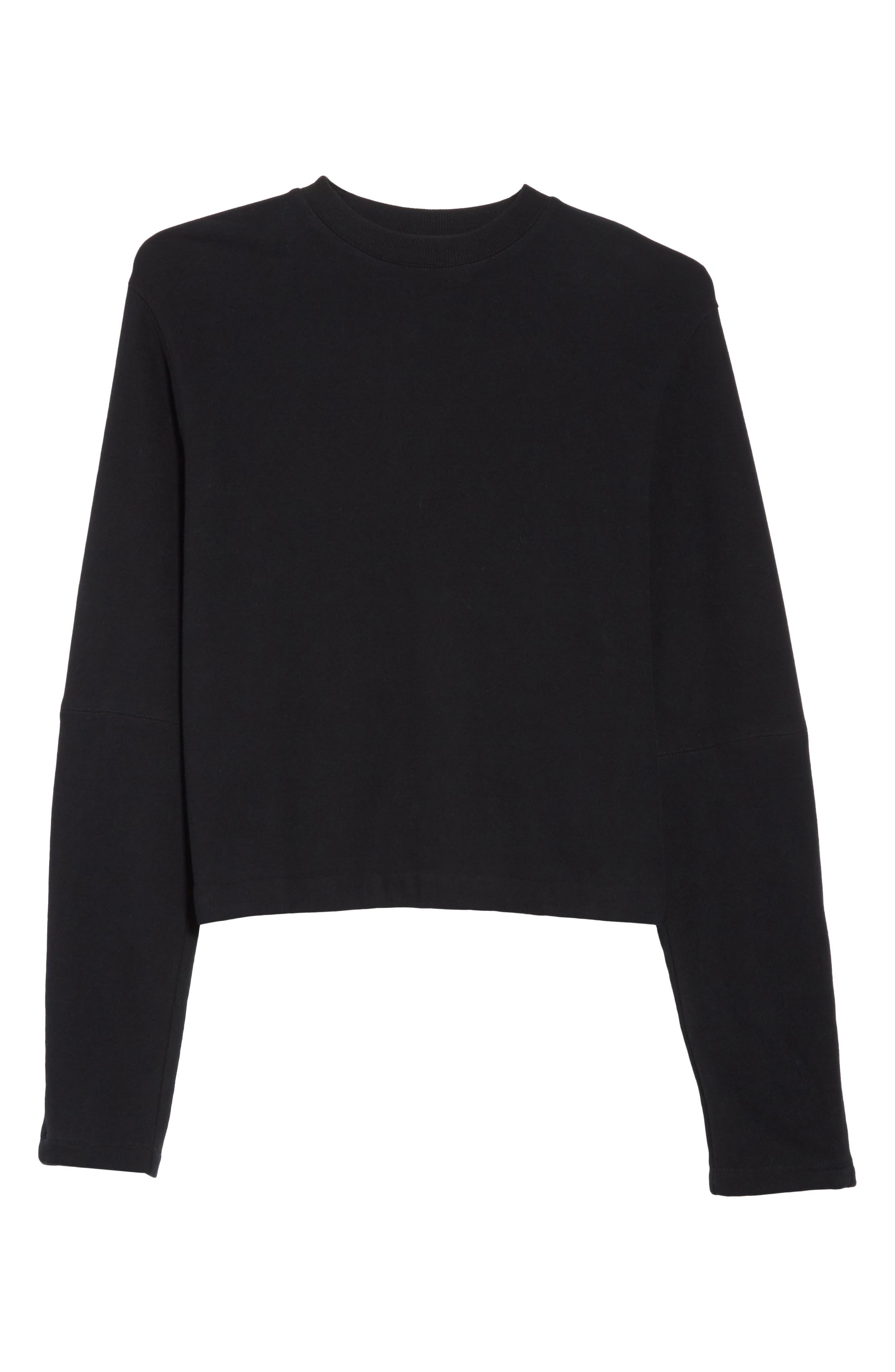 Rib Detail Crewneck Sweater,                             Alternate thumbnail 6, color,                             001