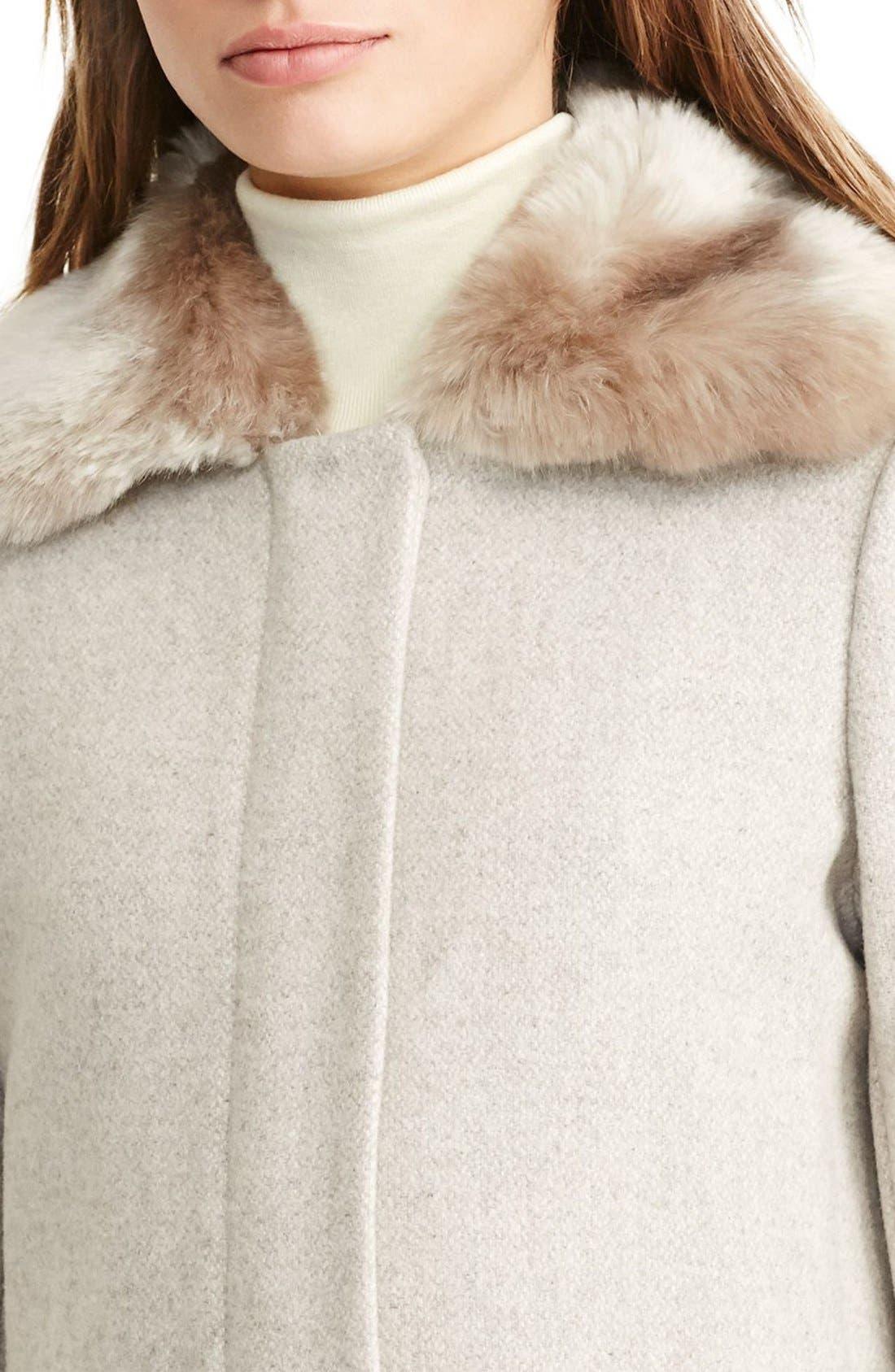 LAUREN RALPH LAUREN,                             Wool Blend Coat with Faux Fur Collar,                             Alternate thumbnail 4, color,                             068