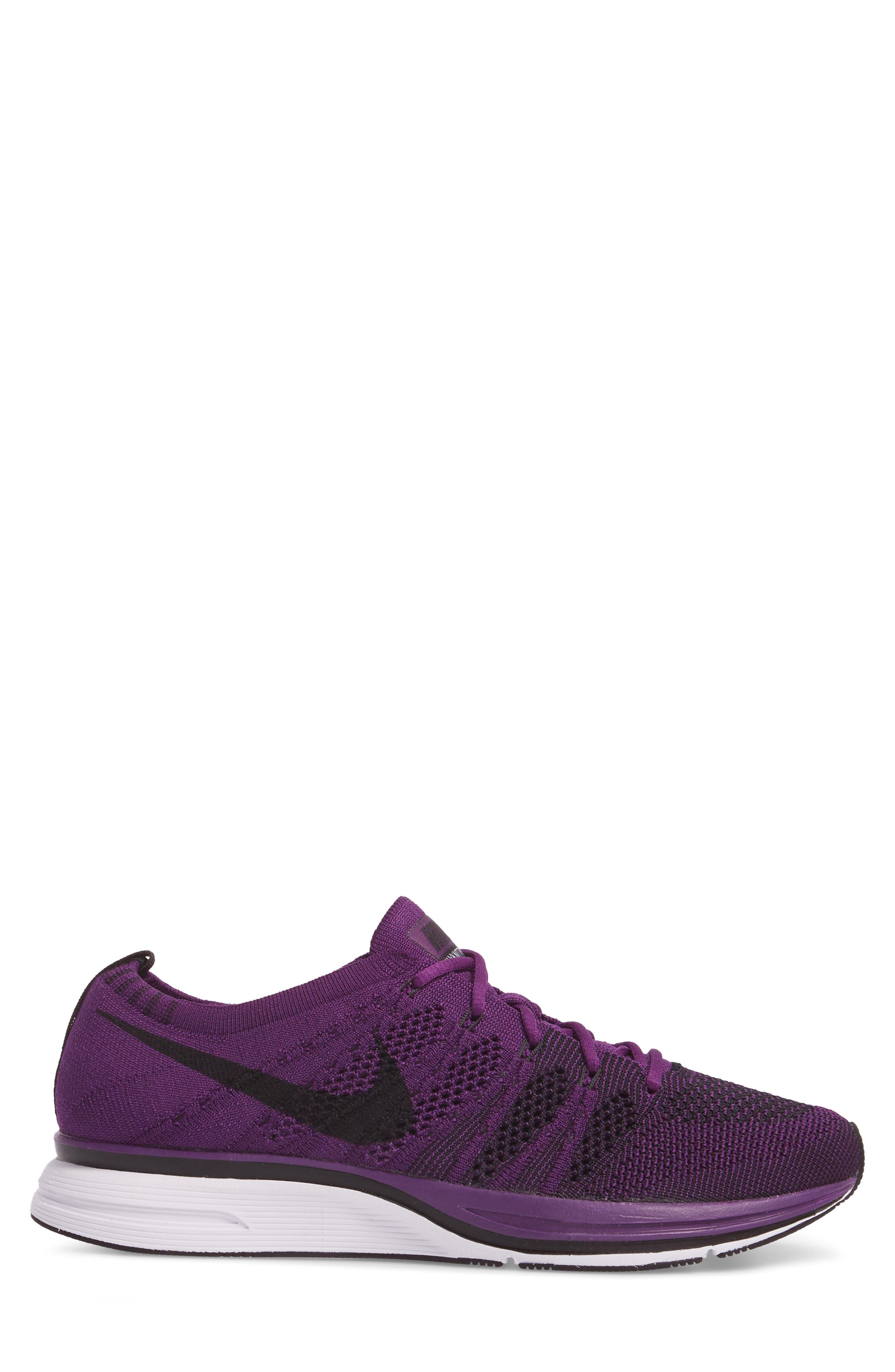 NikeLab Flyknit Trainer Sneaker,                             Alternate thumbnail 3, color,                             NIGHT PURPLE/ BLACK/ WHITE