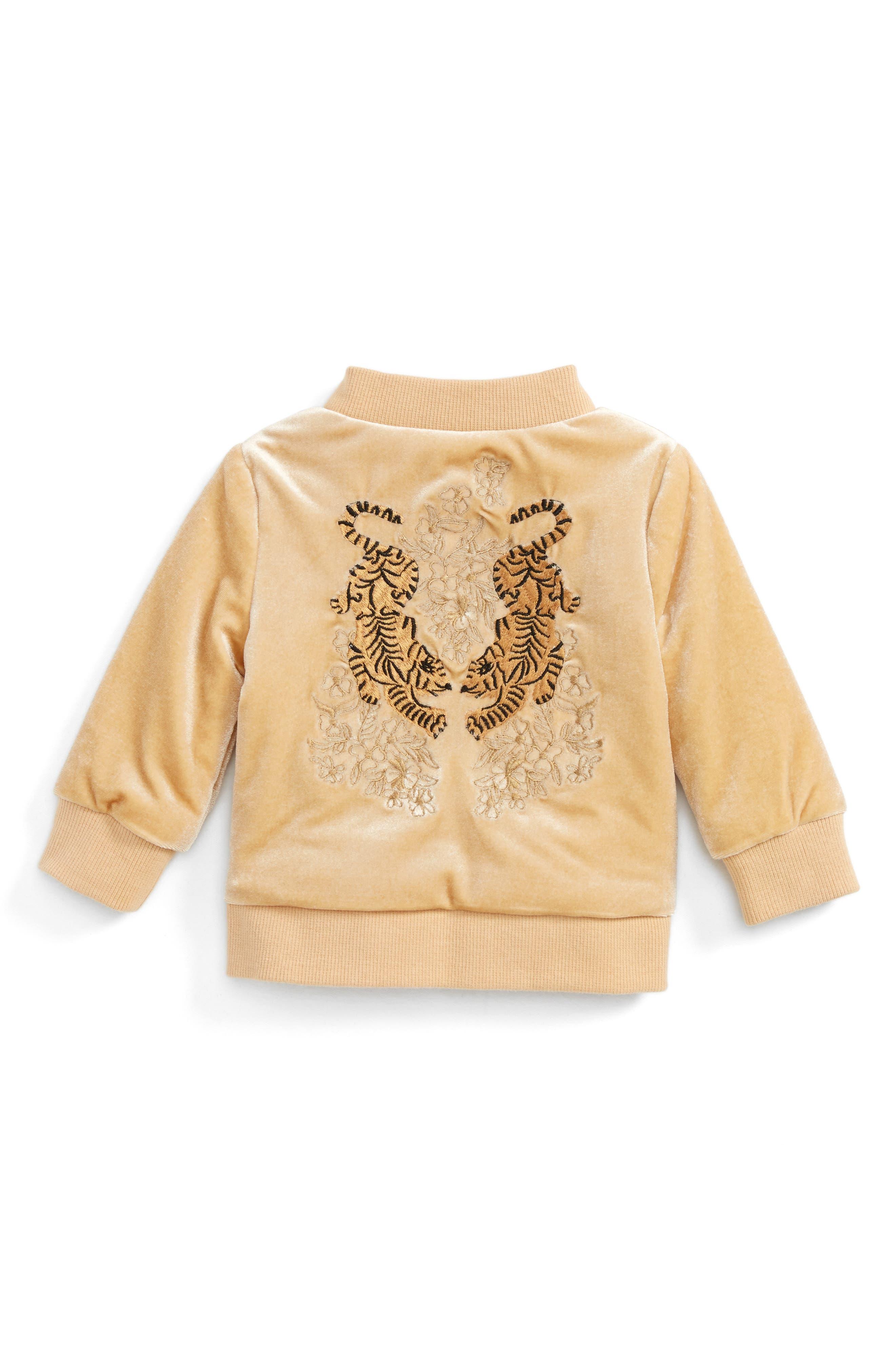 BARDOT JUNIOR,                             Embroidered Velvet Bomber Jacket,                             Alternate thumbnail 2, color,                             275