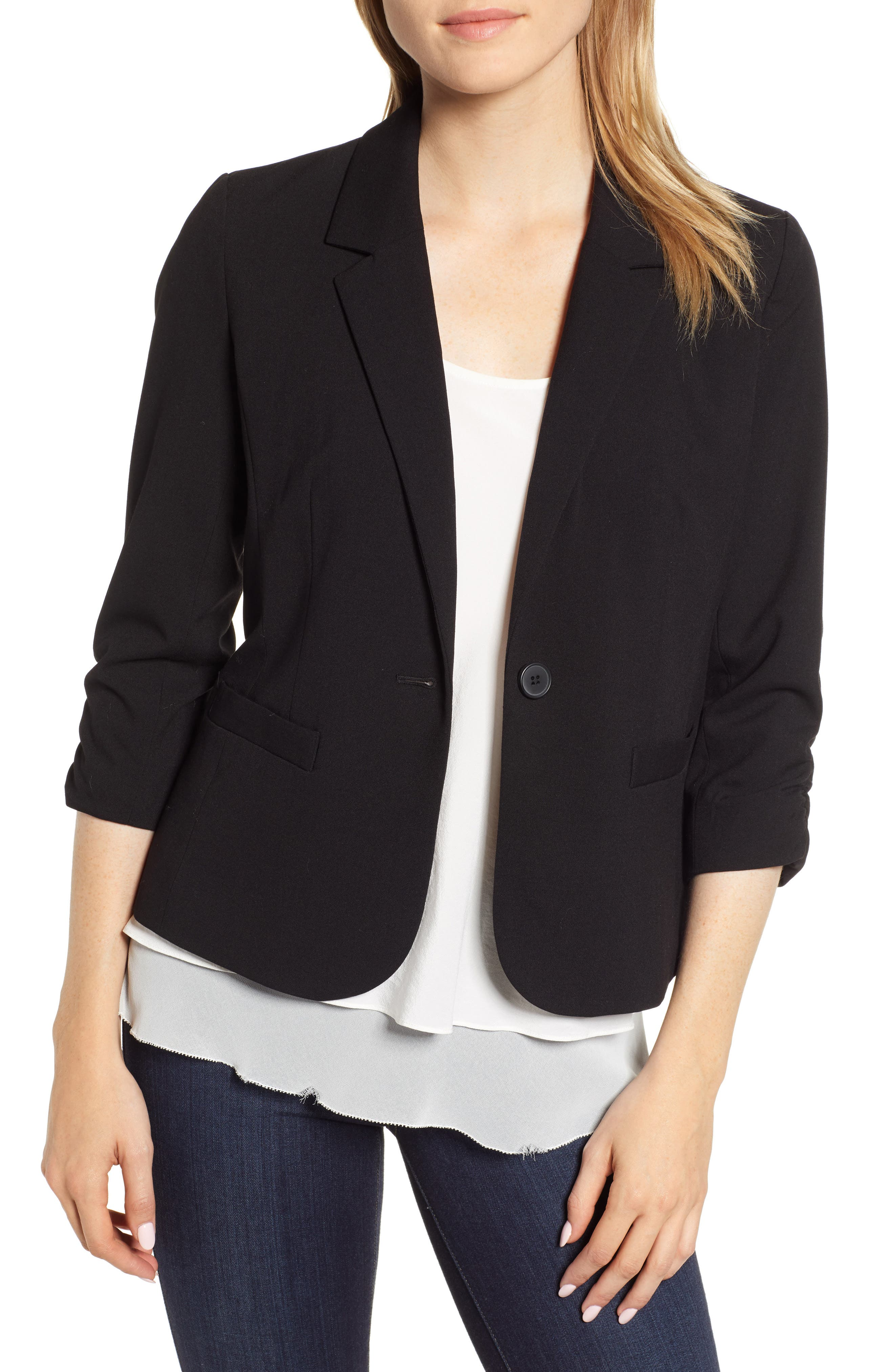 Ruched Sleeve Blazer,                         Main,                         color, RICH BLACK