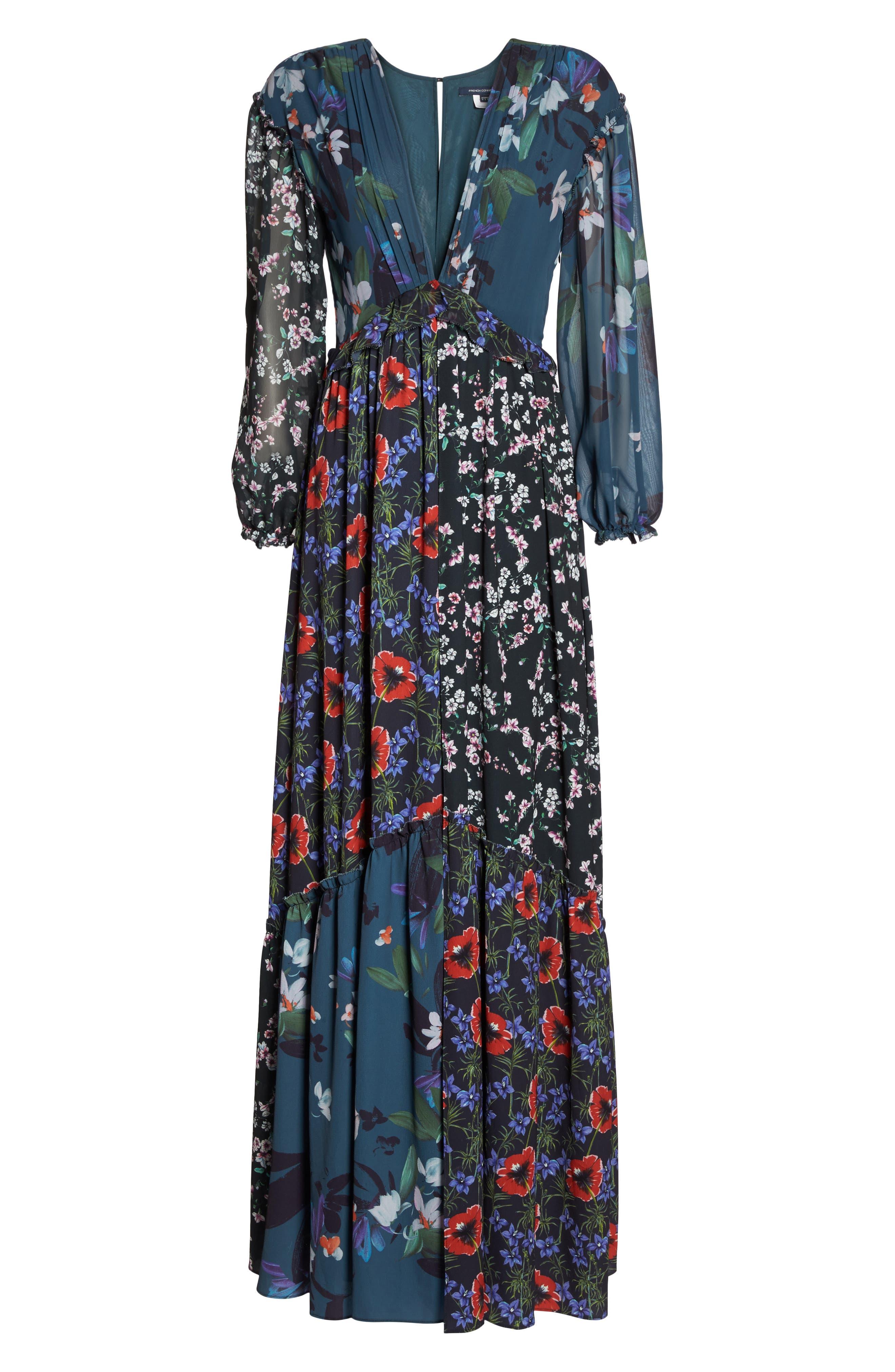 Celia Mix Floral Maxi Dress,                             Alternate thumbnail 6, color,                             451