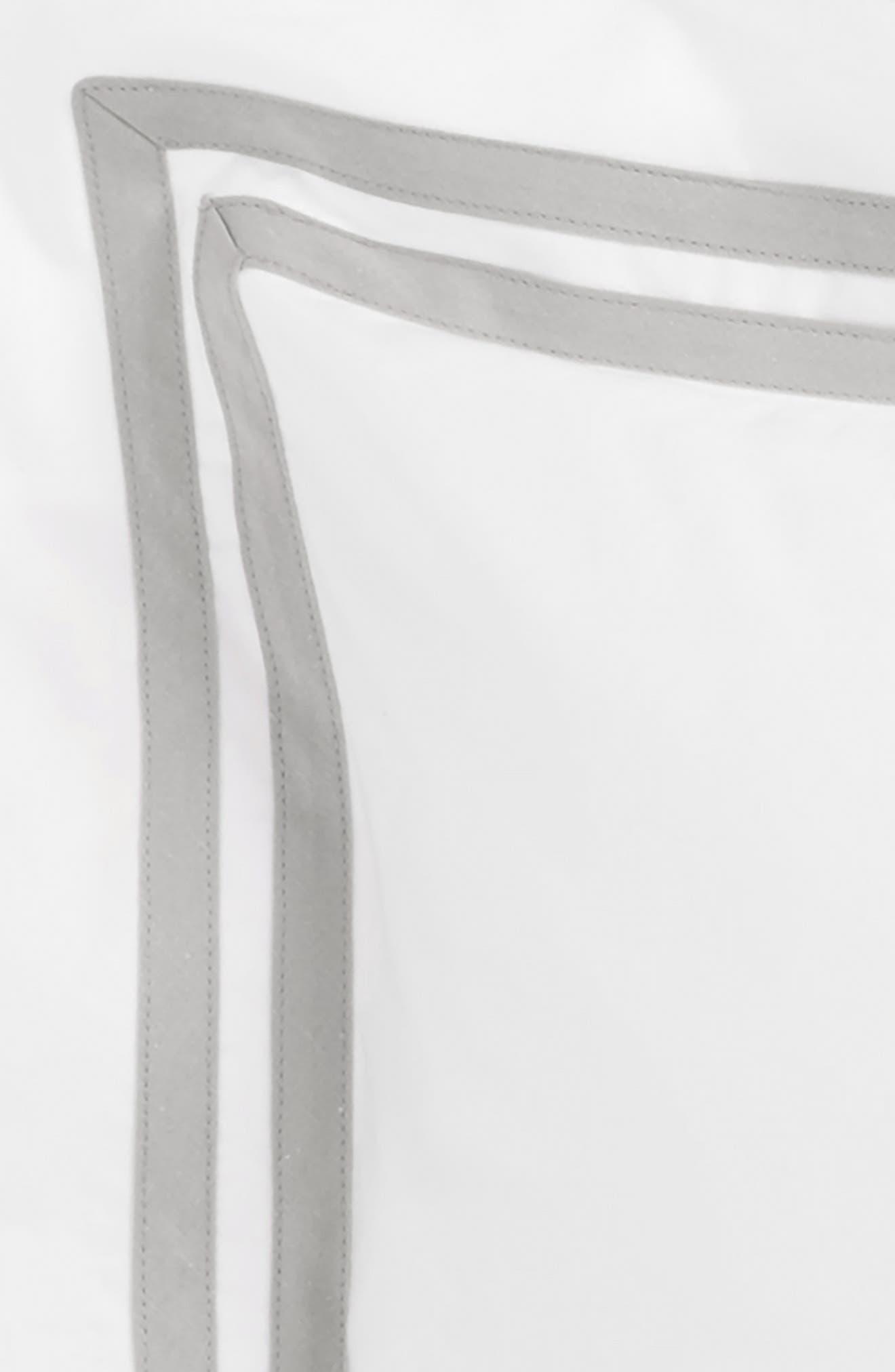 Meridian 350 Thread Count Sham,                             Alternate thumbnail 3, color,                             SILVER